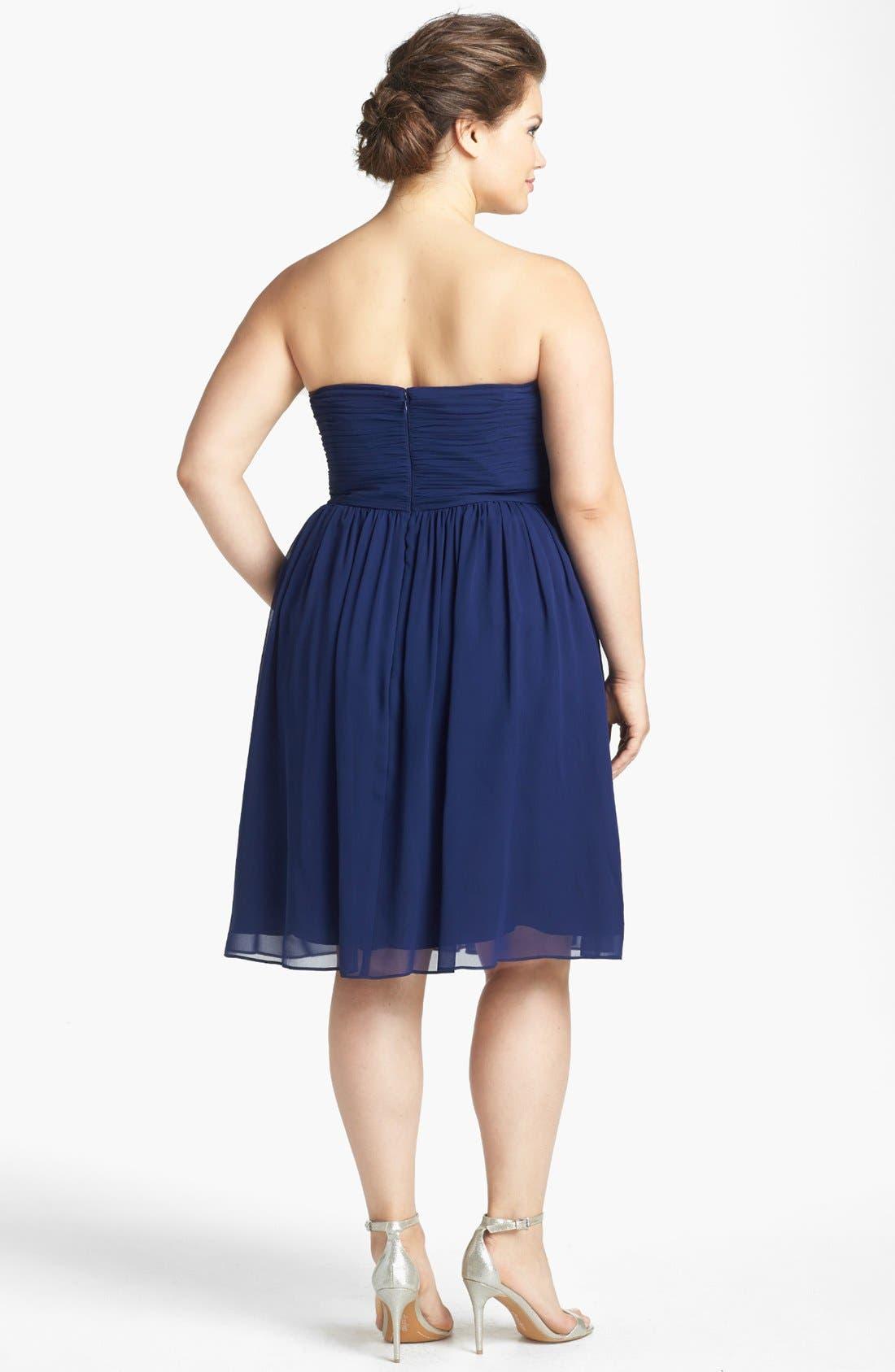 'Morgan' Strapless Silk Chiffon Dress,                             Main thumbnail 18, color,