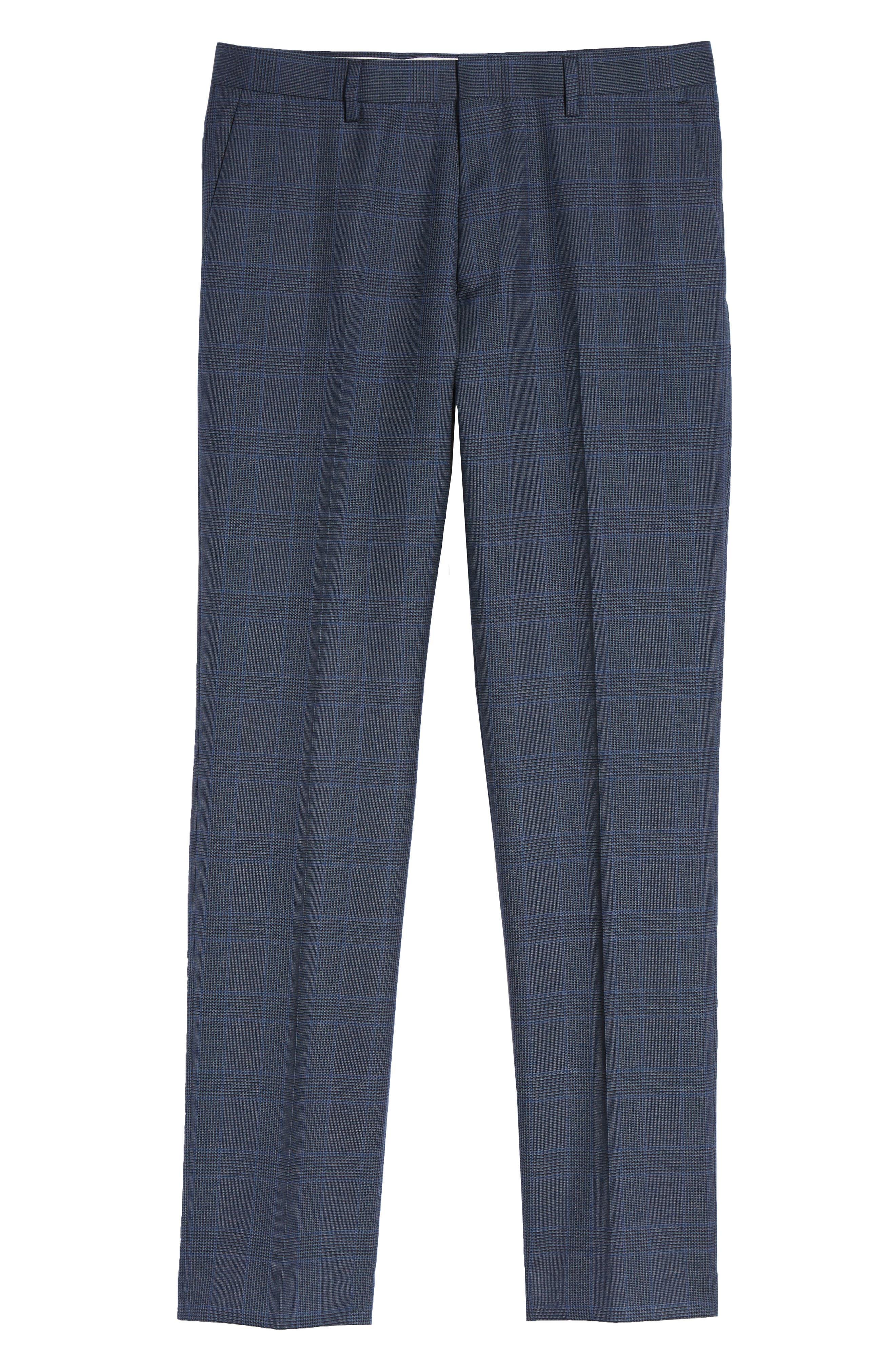 Ludlow Trim Fit Glen Plaid Wool Pants,                             Alternate thumbnail 6, color,                             400