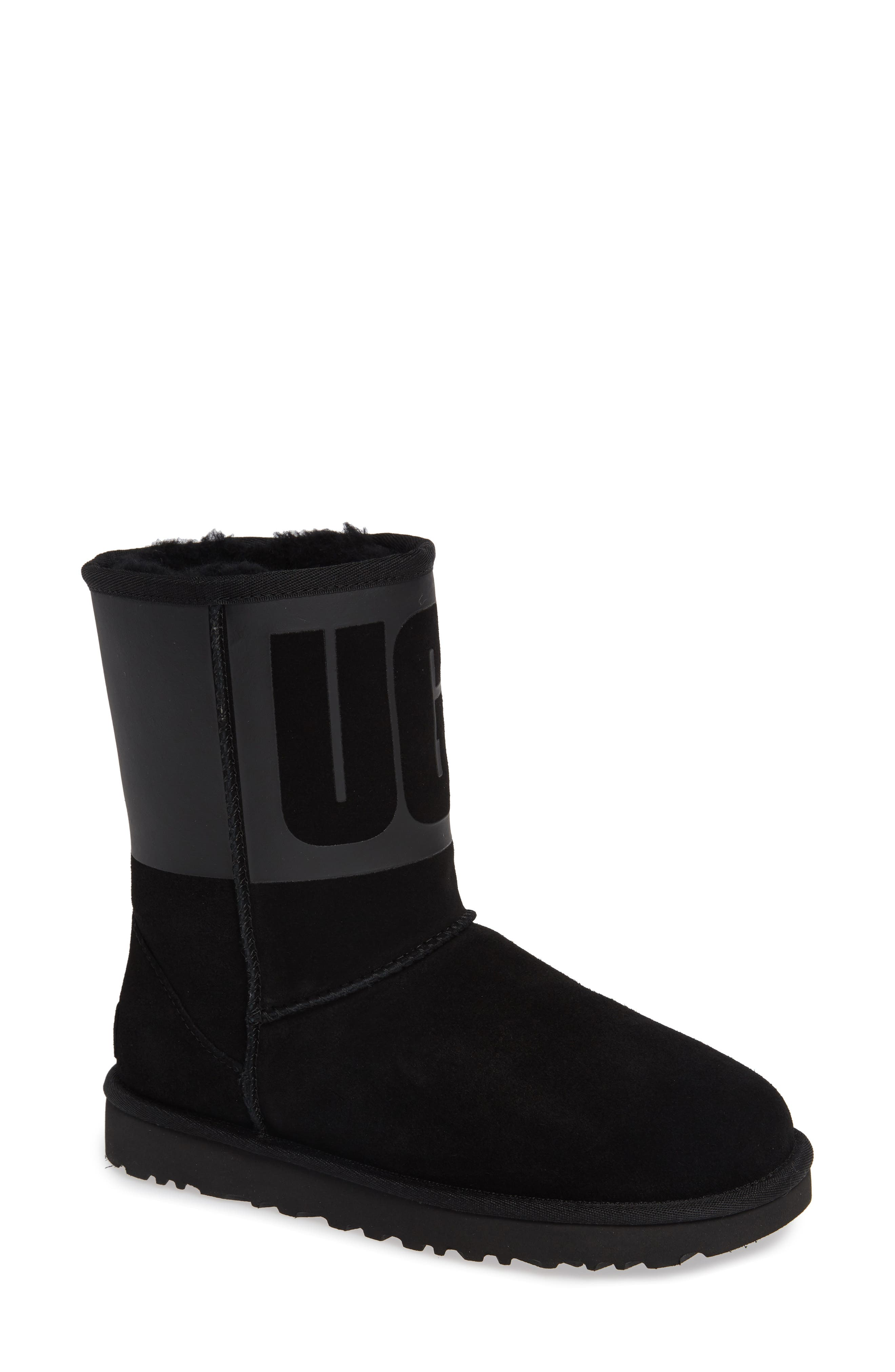Classic Short Rubber Boot,                             Main thumbnail 1, color,                             BLACK
