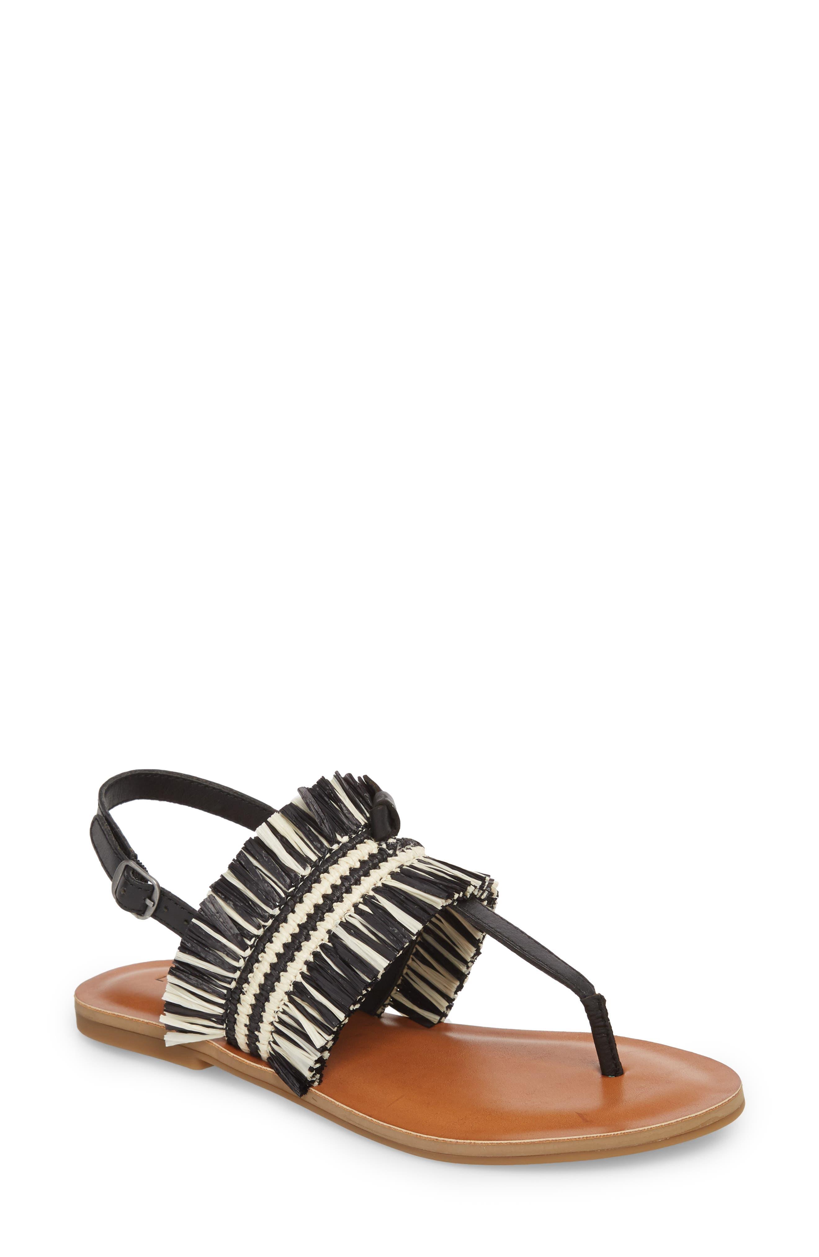 Akerlei Sandal,                         Main,                         color, BLACK/ NATURAL LEATHER