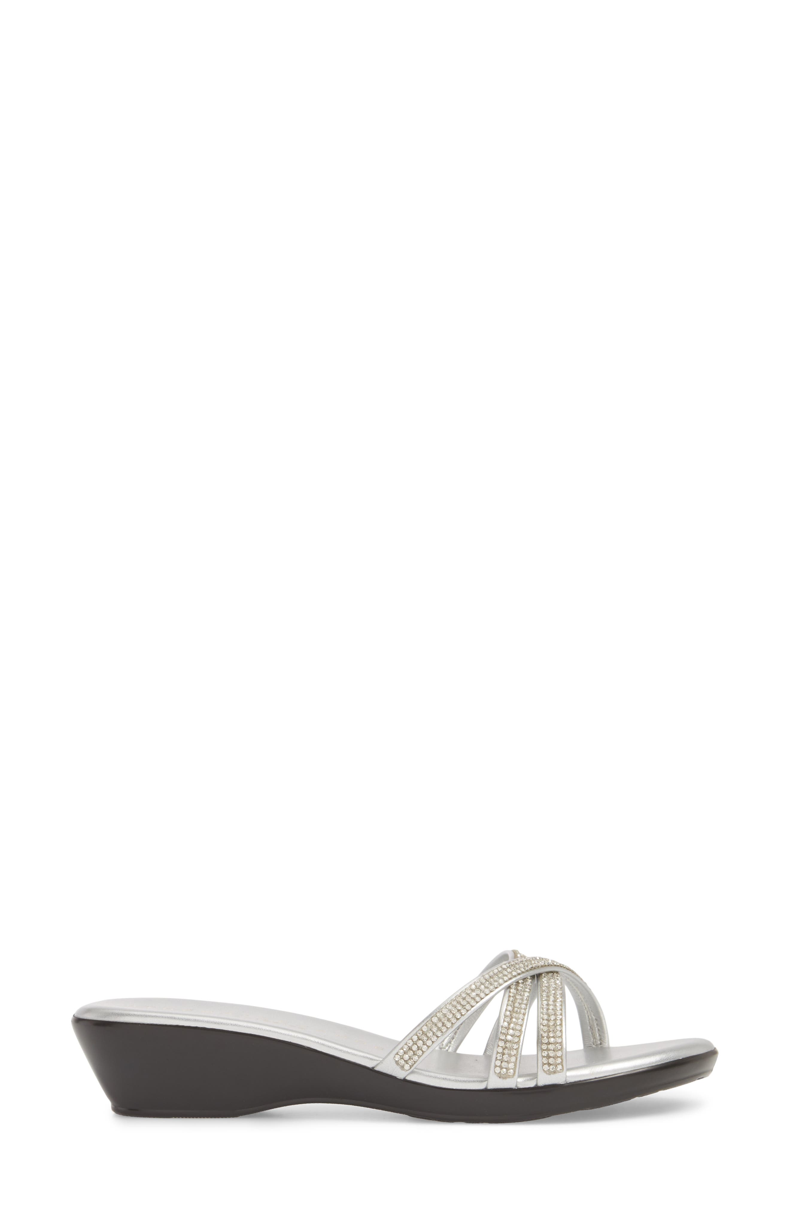 Harlow Slide Sandal,                             Alternate thumbnail 3, color,                             SILVER FABRIC