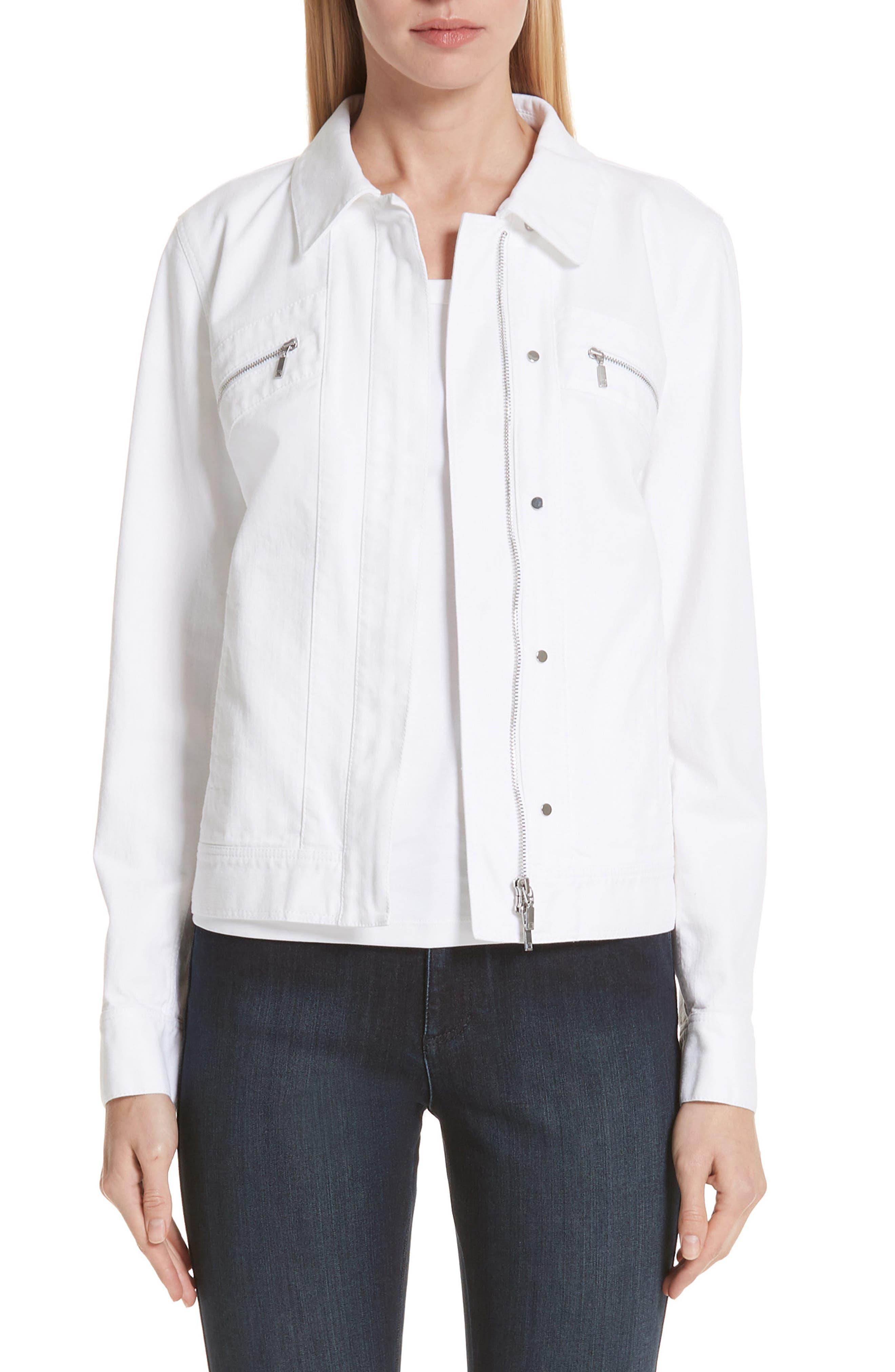 Kesha Denim Jacket,                             Main thumbnail 1, color,                             WHITE
