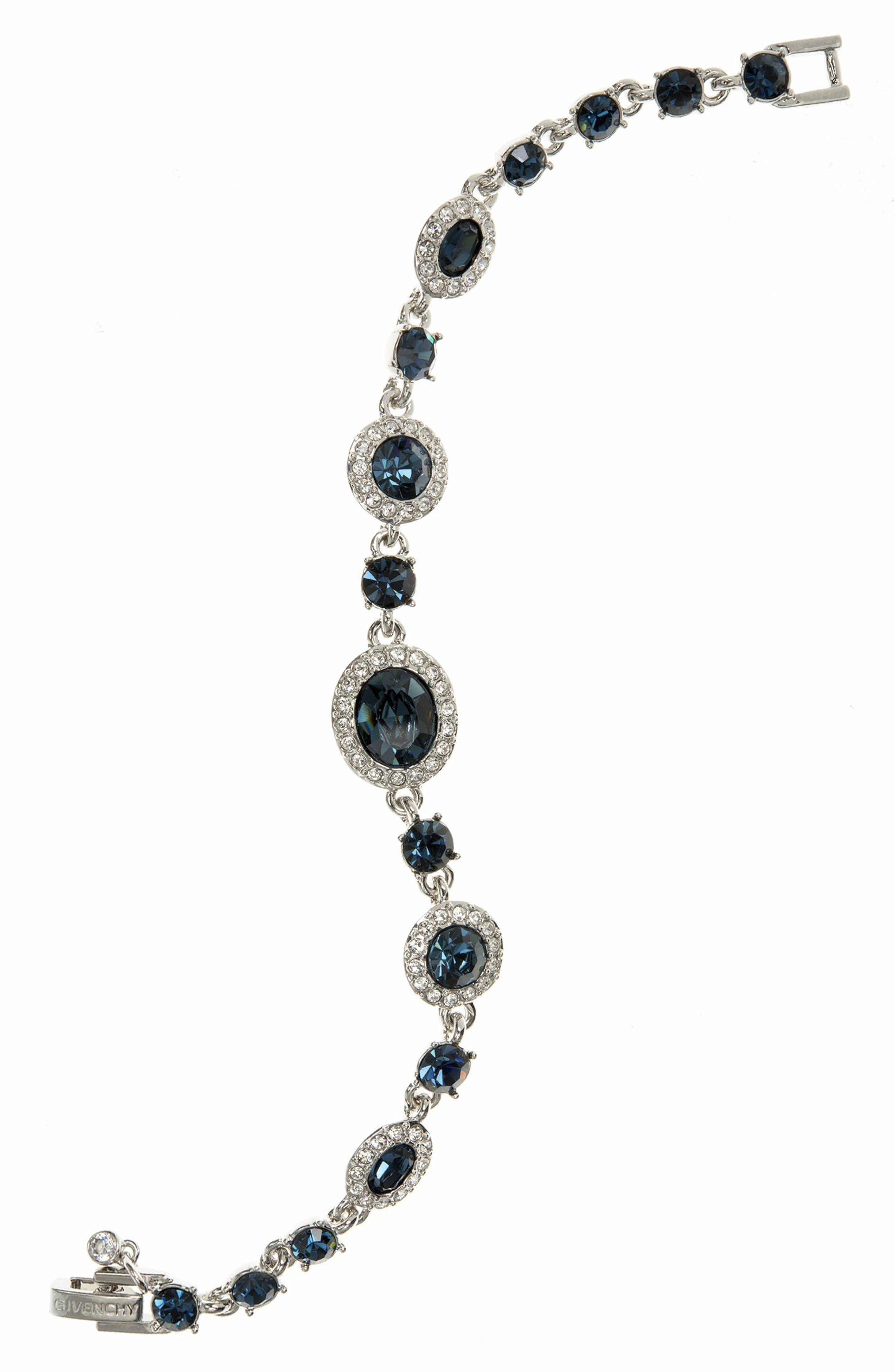 Crystal Line Bracelet,                         Main,                         color, BLUE / SILVER