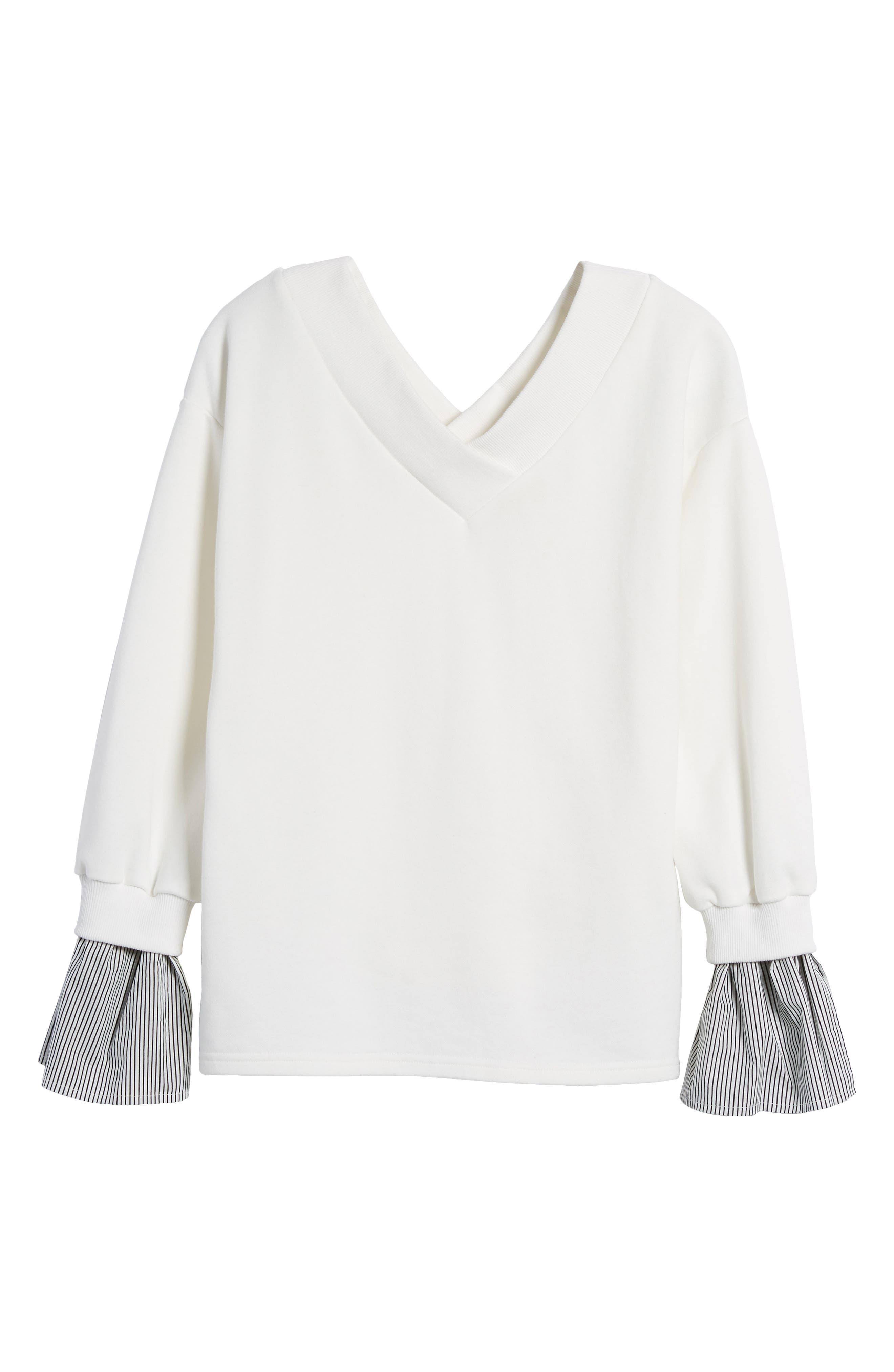 Ruffle Cuff Sweatshirt,                             Alternate thumbnail 6, color,                             100