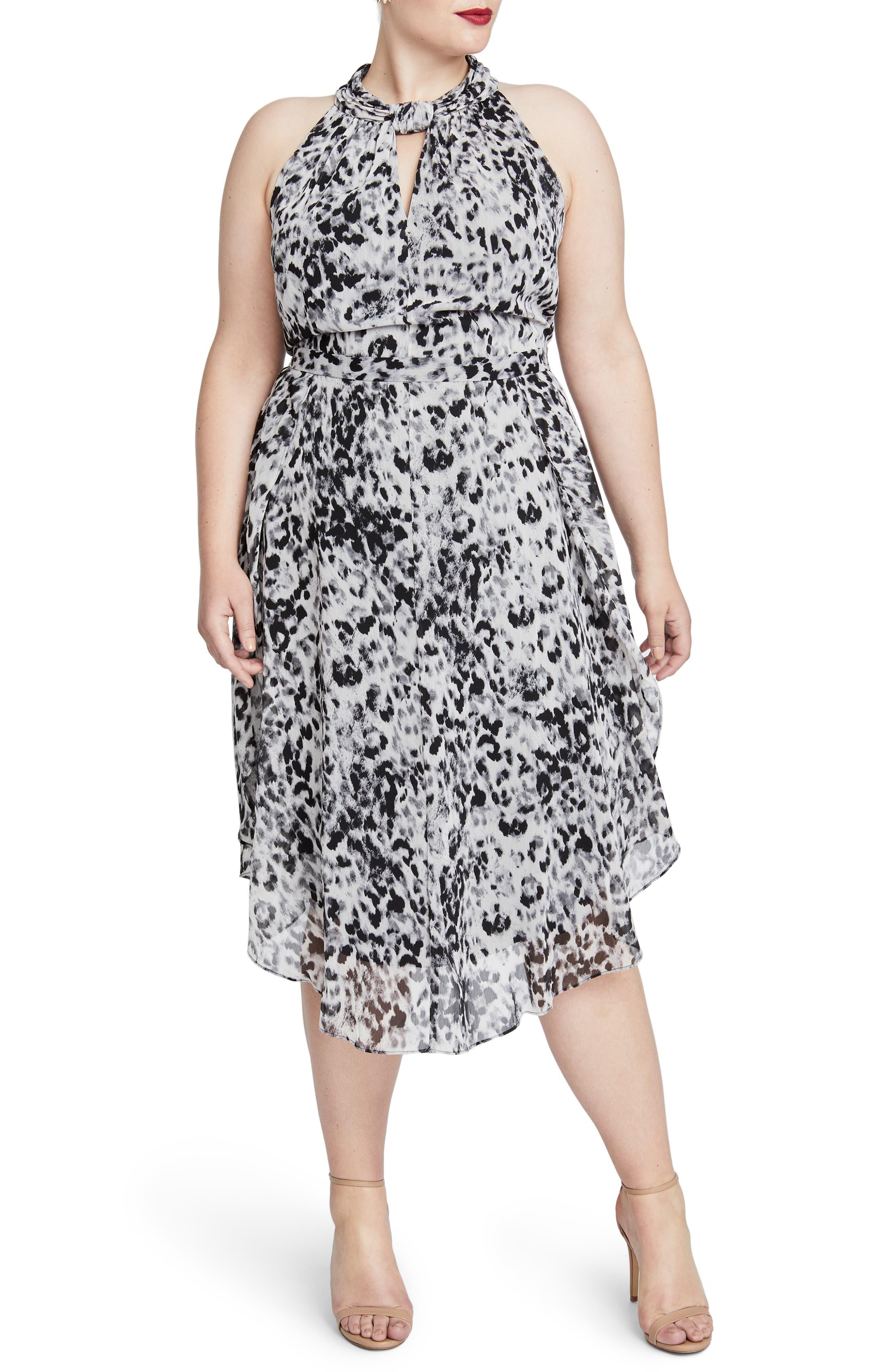 Chiffon Midi Dress,                         Main,                         color, IVORY COMBO
