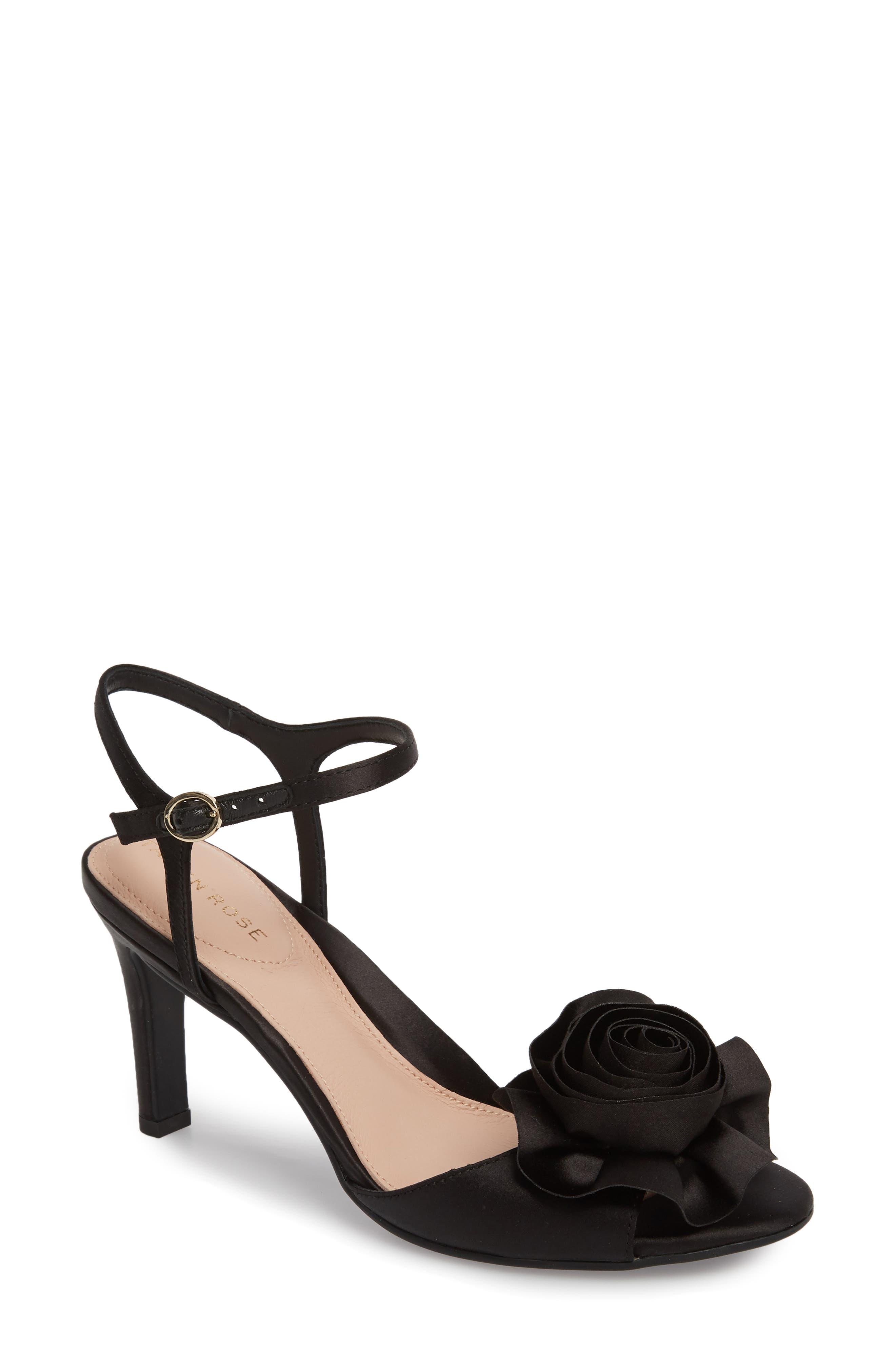 Jacklyn Flower Sandal,                             Main thumbnail 1, color,                             BLACK SHIMMER FABRIC