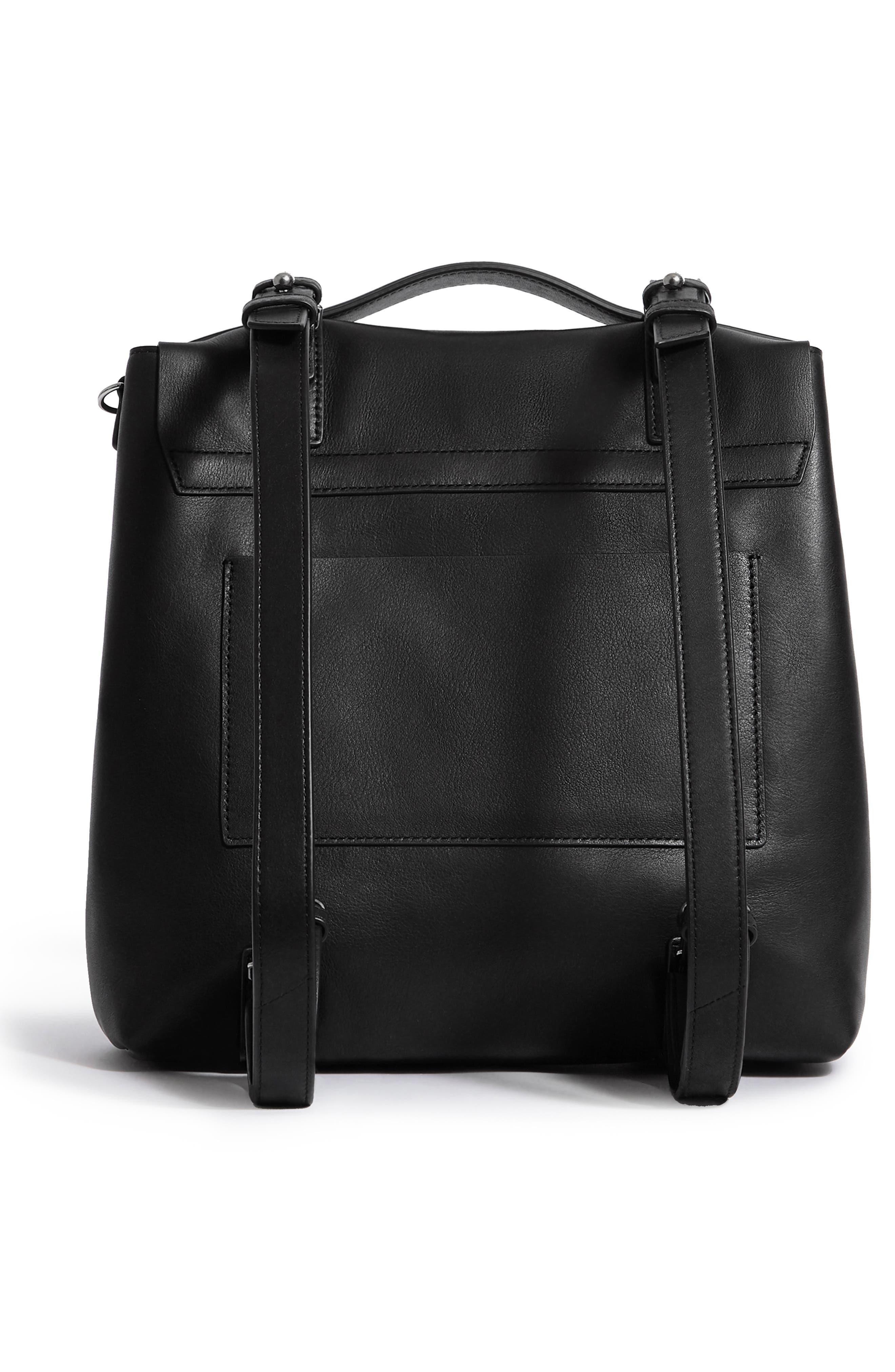 Sid Leather Convertible Backpack,                             Alternate thumbnail 2, color,                             BLACK