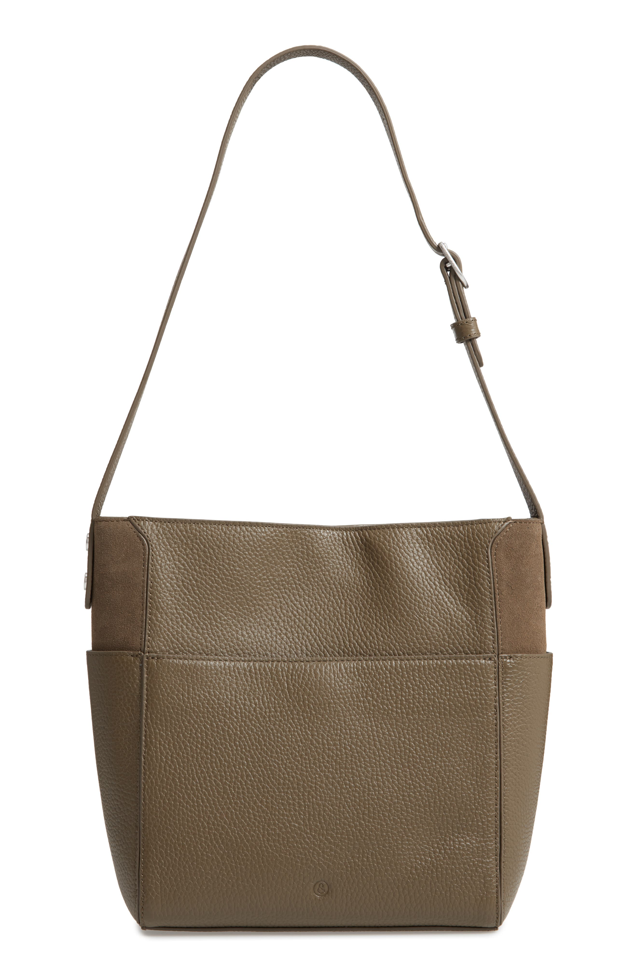 Campbell Leather & Suede Bucket Bag,                             Alternate thumbnail 3, color,                             OLIVE GROVE