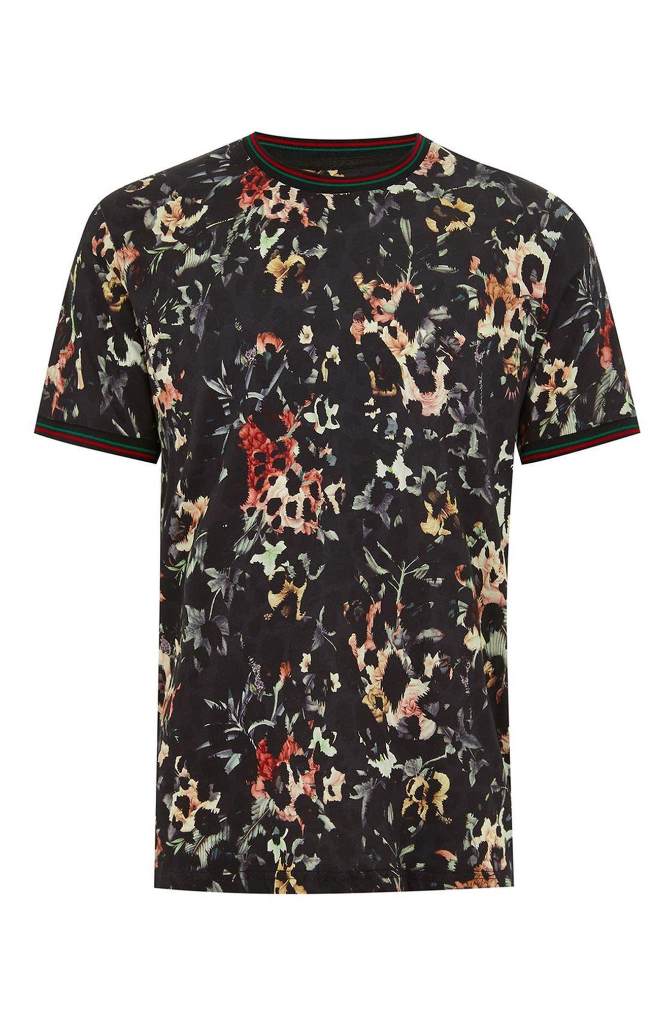 Floral Leopard Print T-Shirt,                             Alternate thumbnail 4, color,                             001