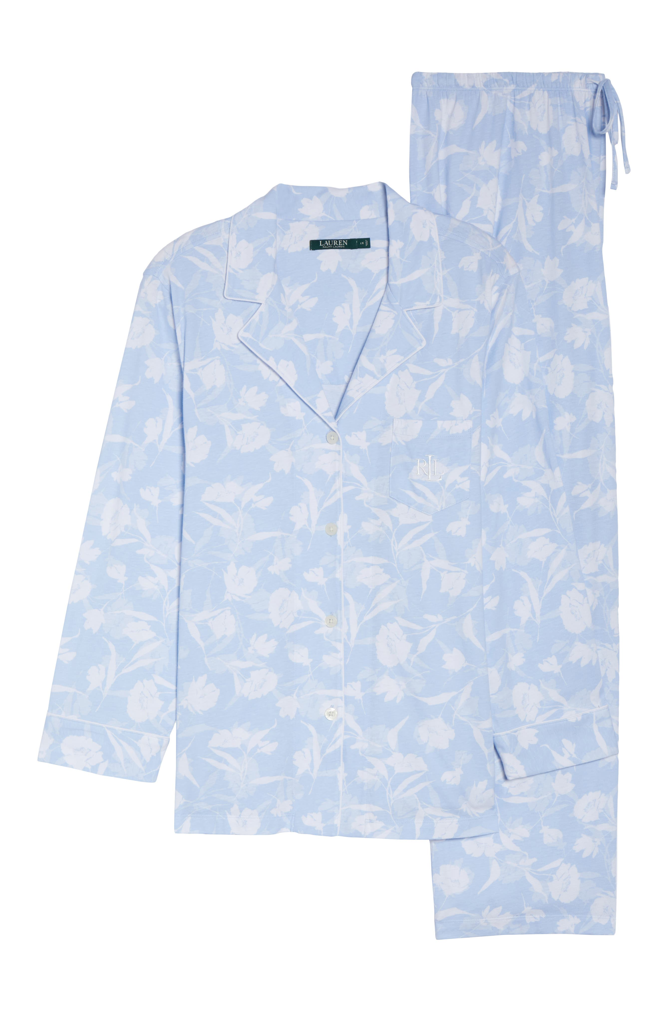 Floral Print Jersey Pajamas,                             Alternate thumbnail 6, color,