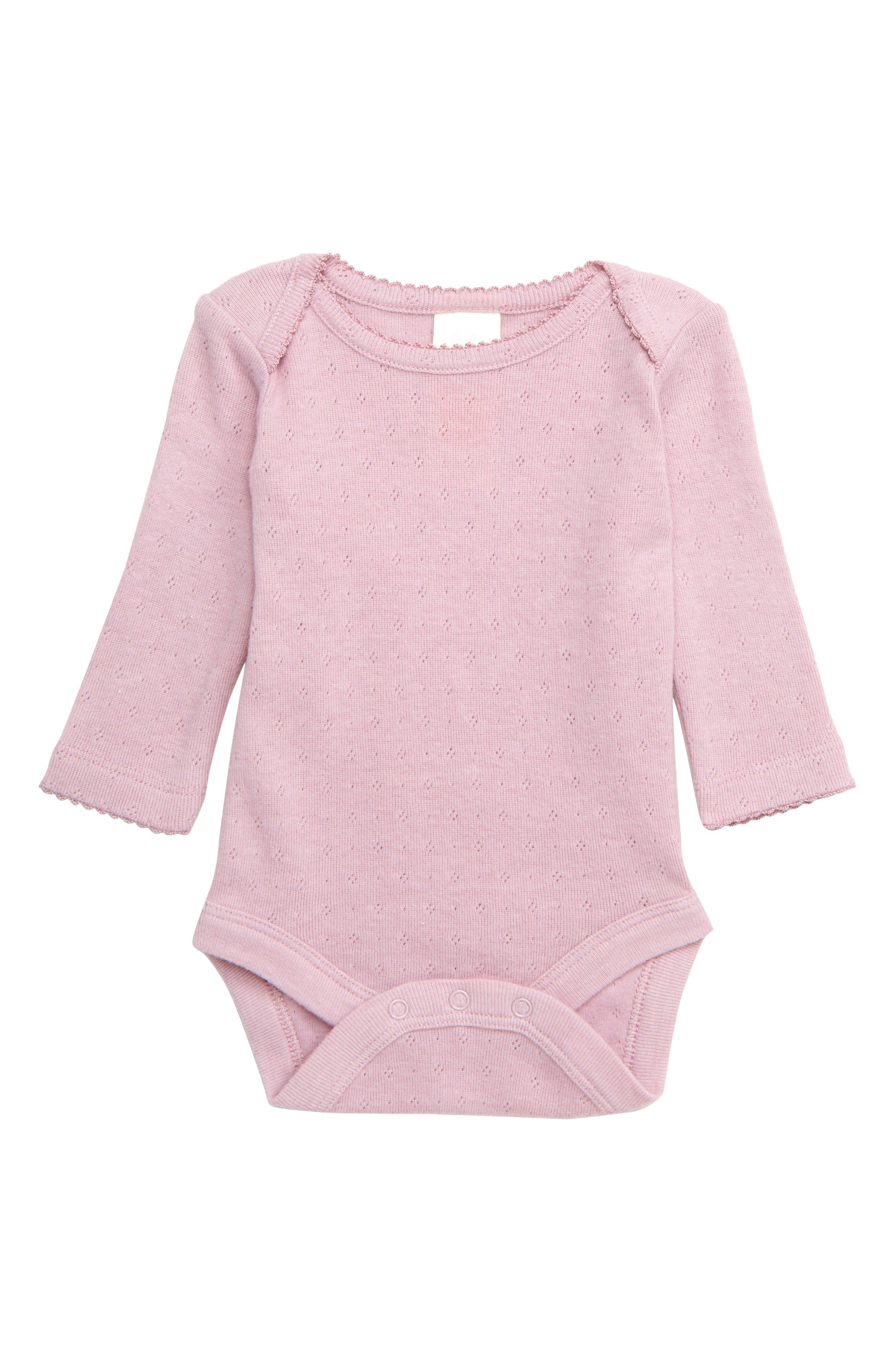 Toddler Girls Mini Boden Supersoft Pointelle Bodysuit Size 23Y  Purple