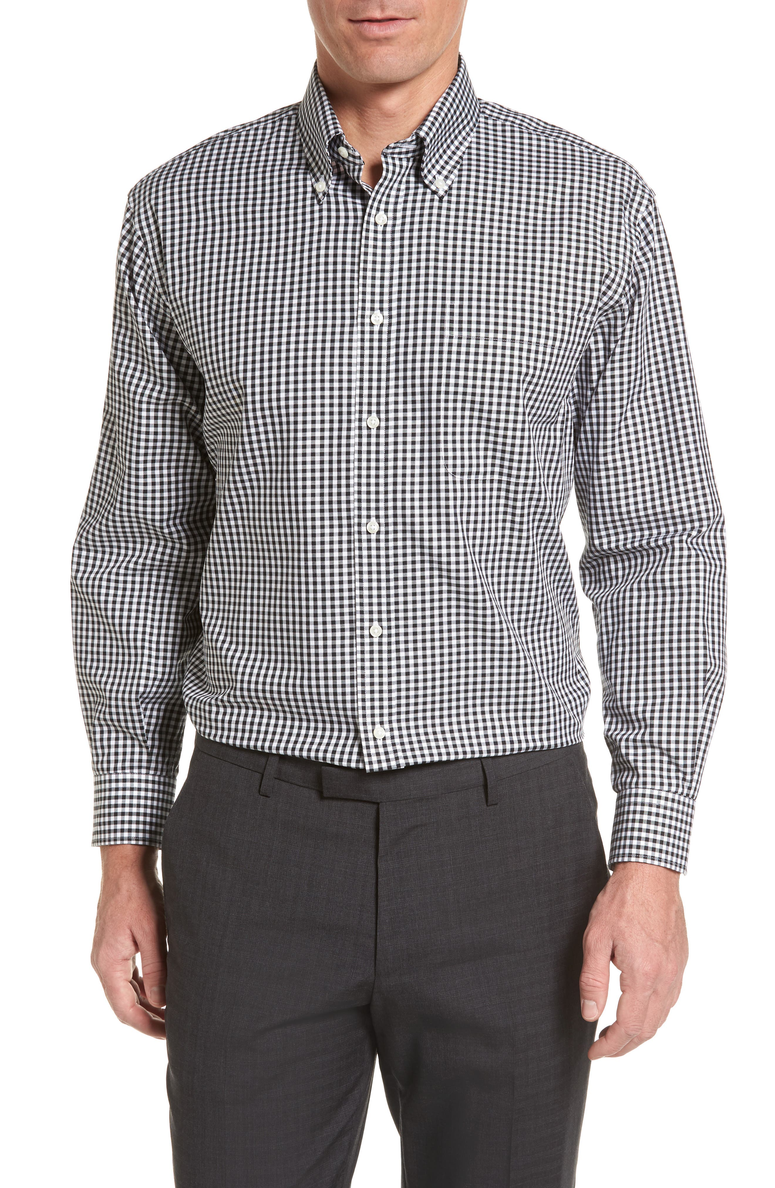 Classic Fit Non-Iron Gingham Dress Shirt,                         Main,                         color, BLACK ROCK