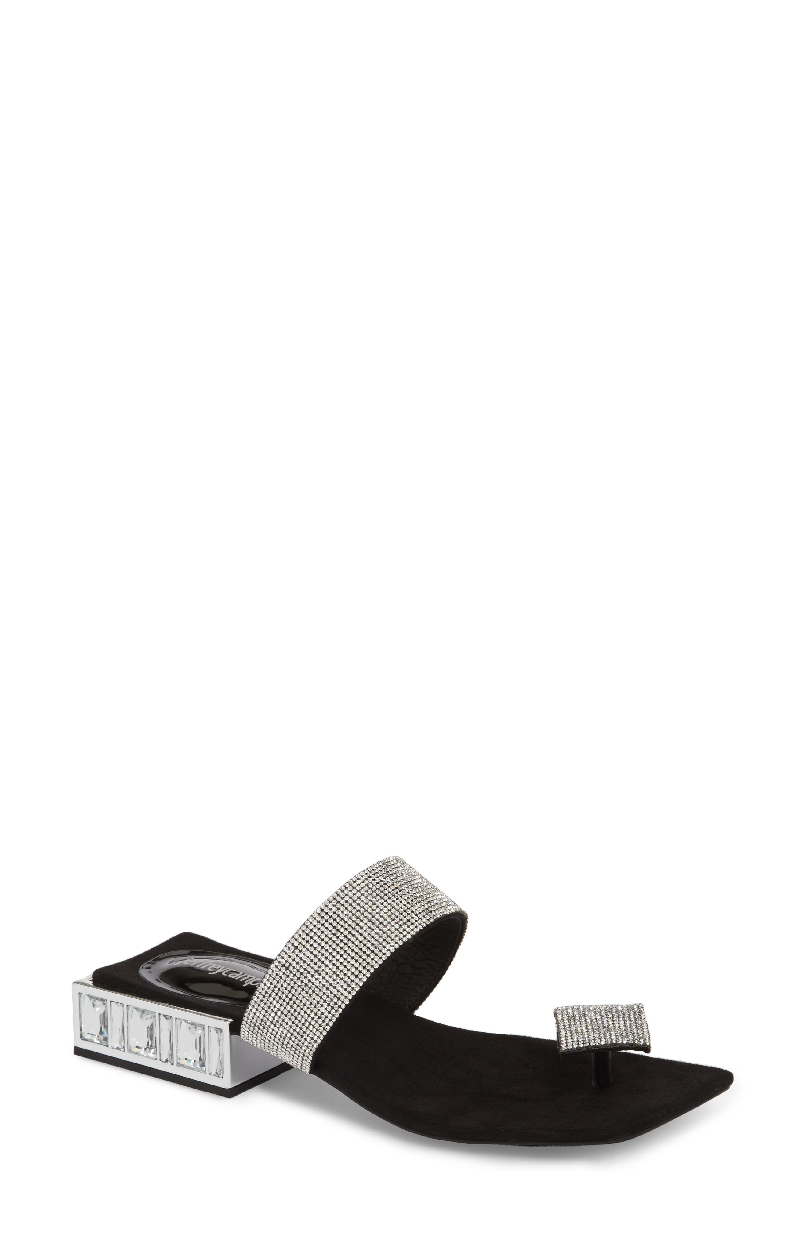 Alise Embellished Sandal,                         Main,                         color, BLACK SUEDE/ SILVER