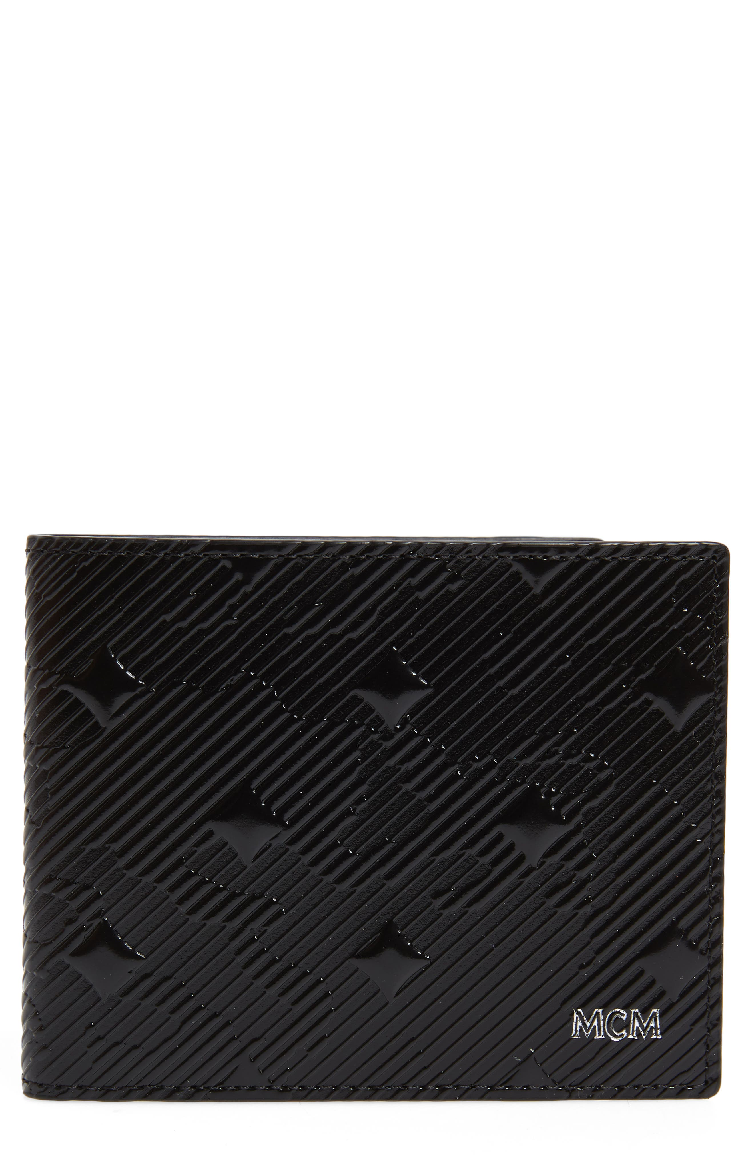 MCM,                             Coburg Lion Patent Leather Bifold Card Case,                             Main thumbnail 1, color,                             001