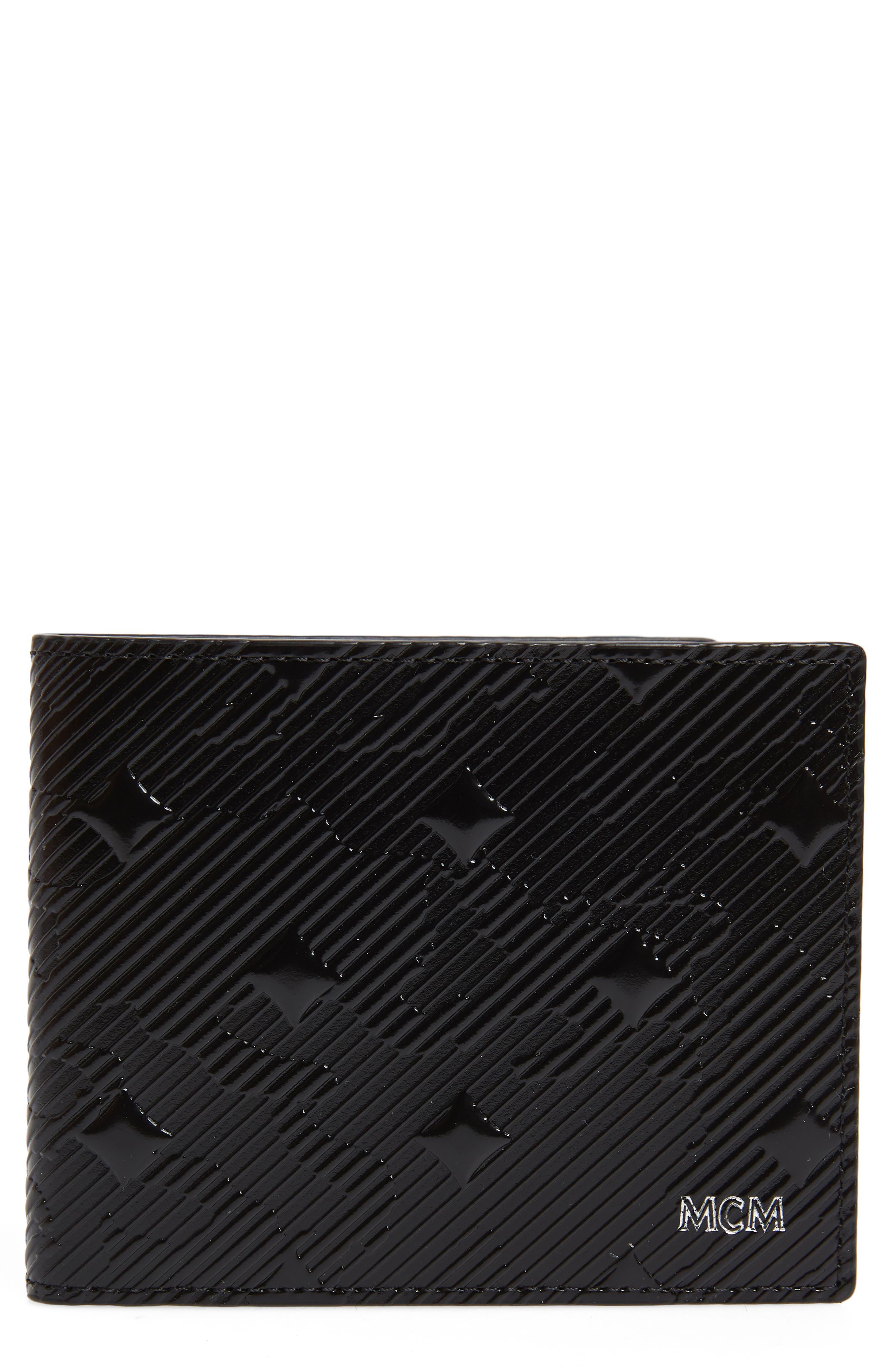 MCM Coburg Lion Patent Leather Bifold Card Case, Main, color, 001