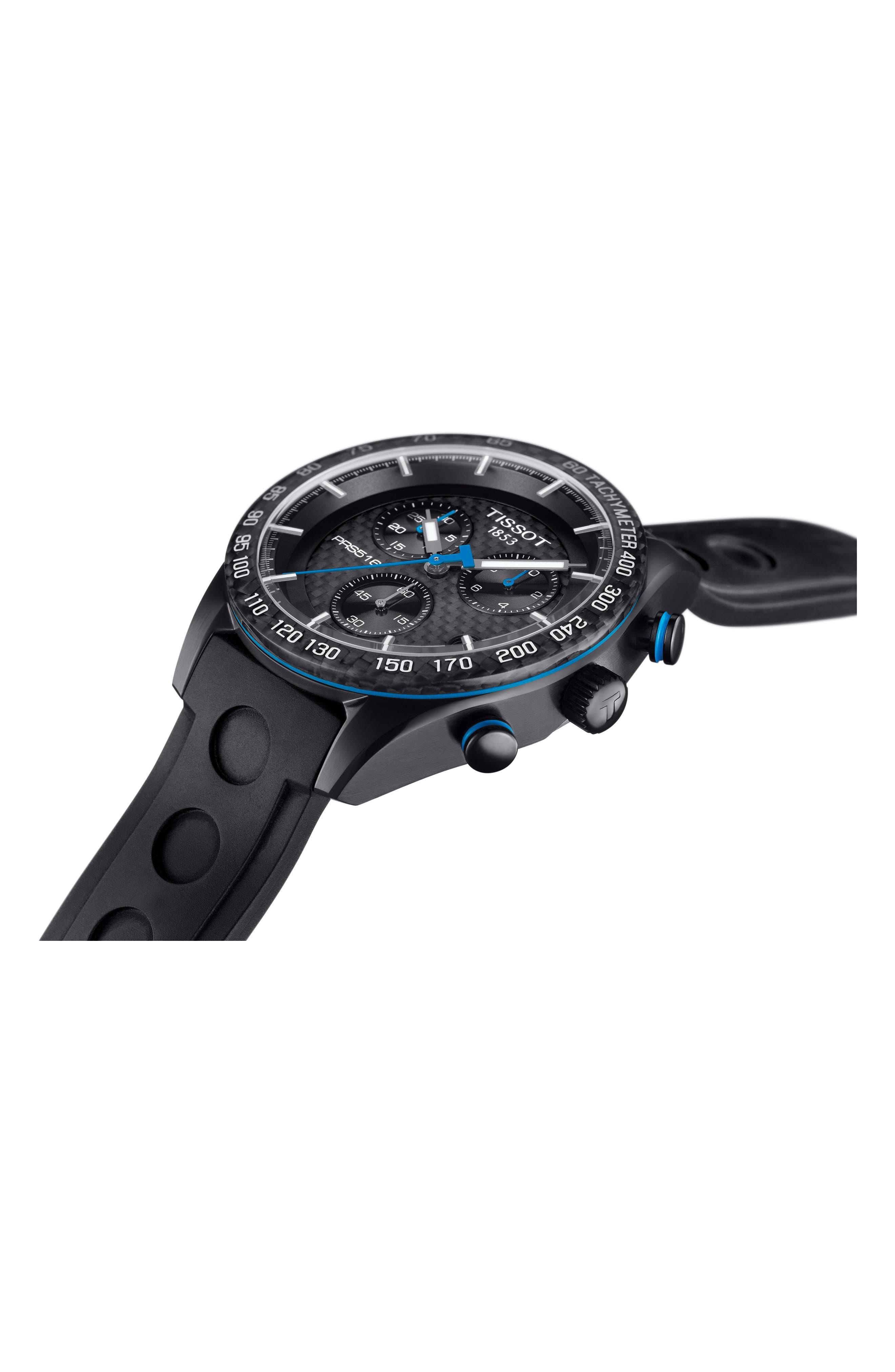 PRS516 Chronograph Rubber Strap Watch, 42mm,                             Alternate thumbnail 3, color,                             BLACK