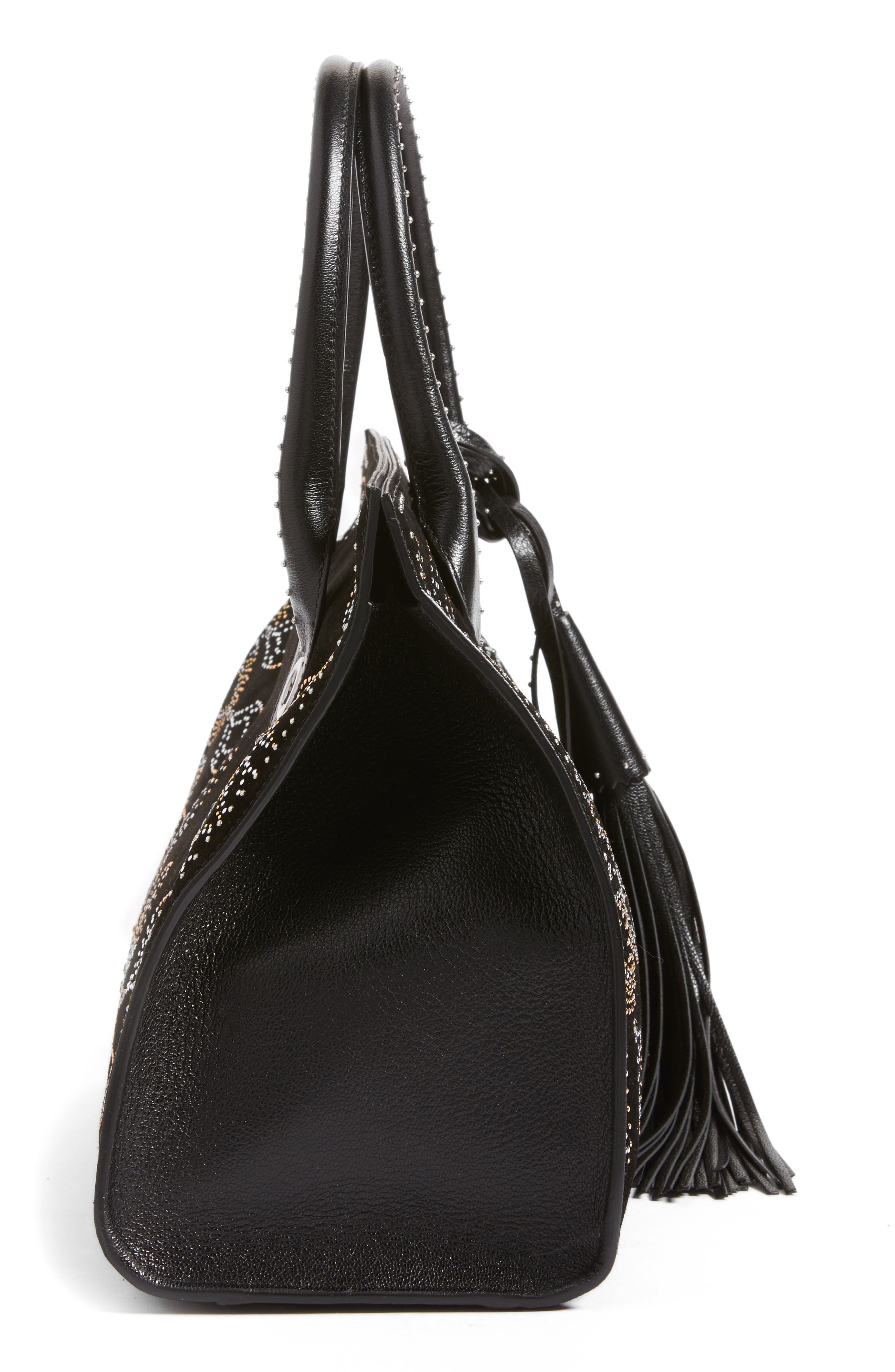Riley Micro Studded Leather Tote,                             Alternate thumbnail 5, color,                             001