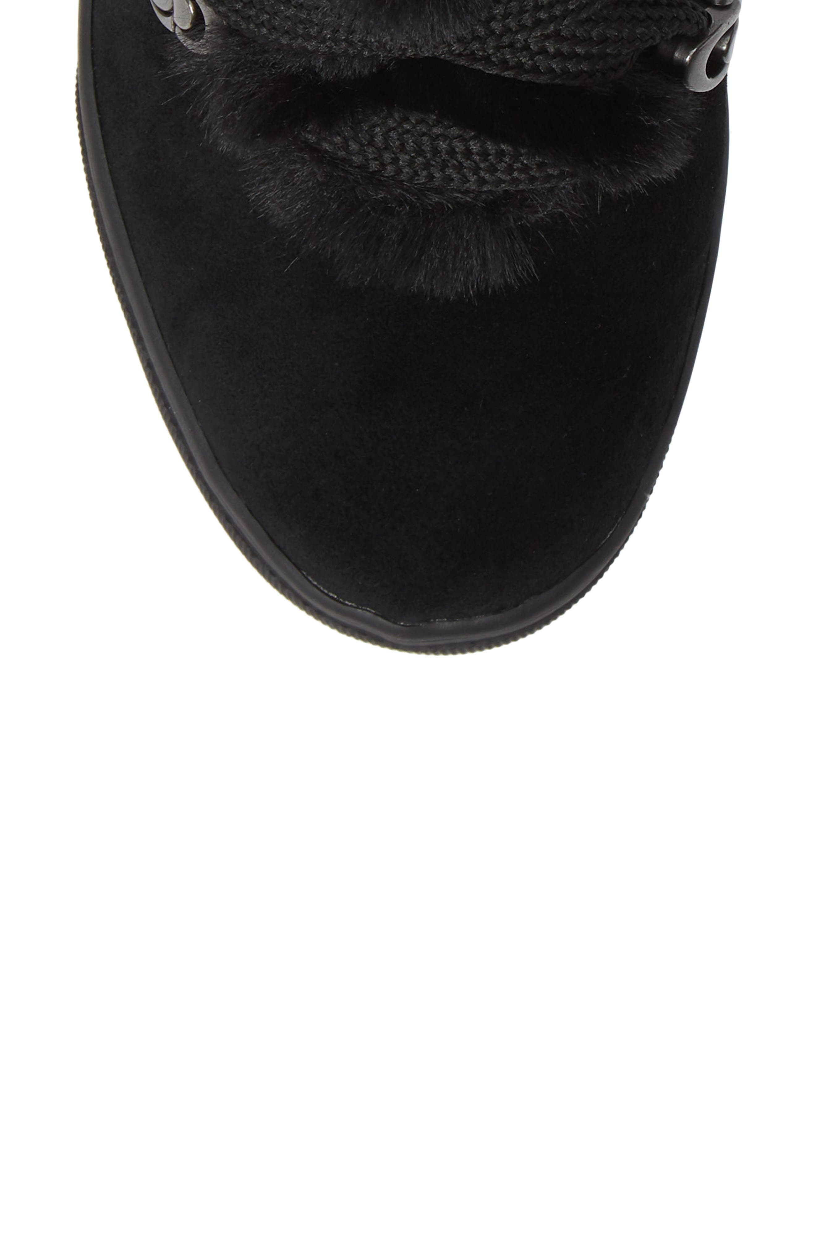 Whitney Faux Fur Trim High Top Sneaker,                             Alternate thumbnail 5, color,                             BLACK SUEDE