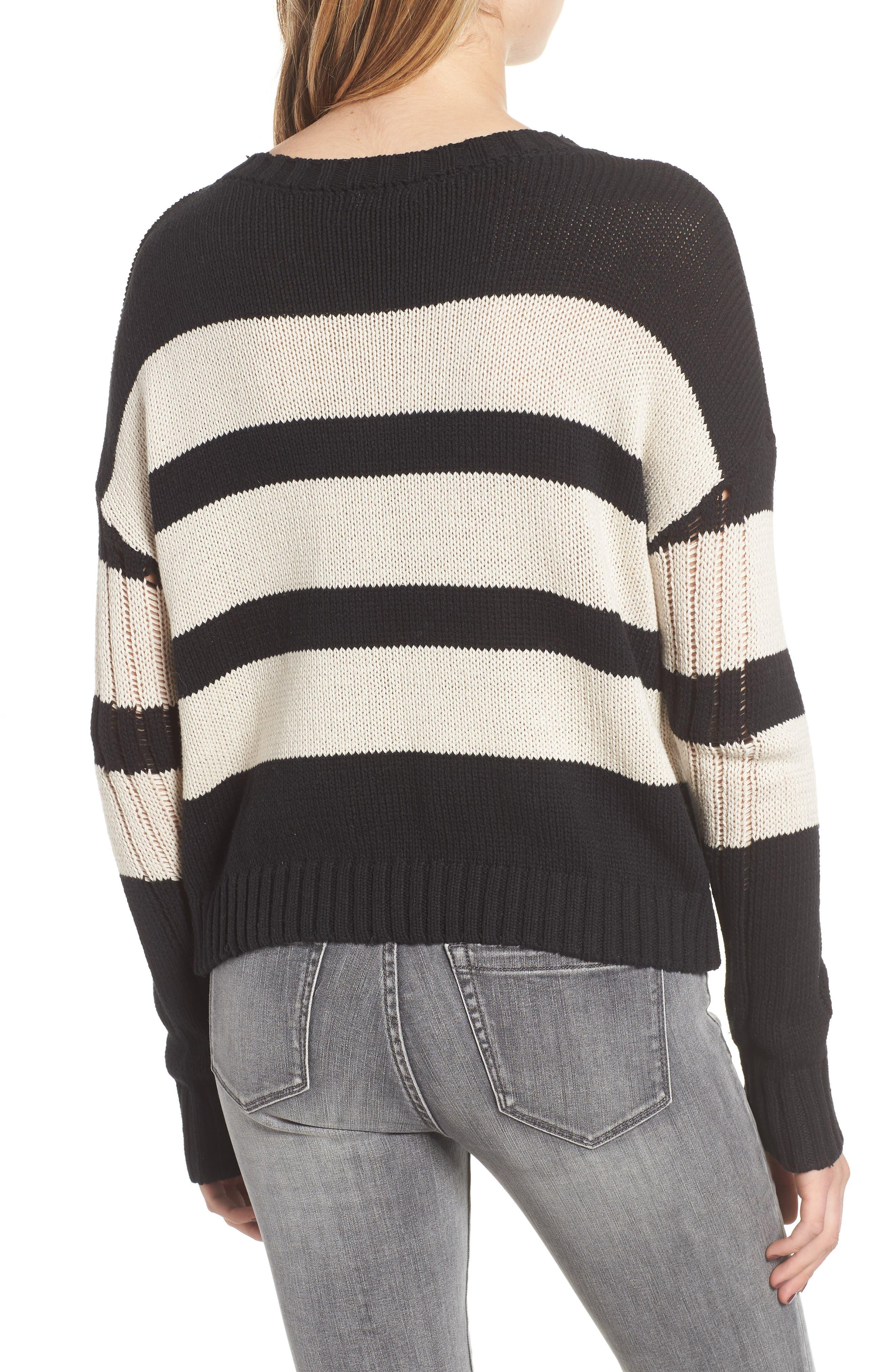 Tia Sweater,                             Alternate thumbnail 2, color,                             BLACK TAN STRIPE