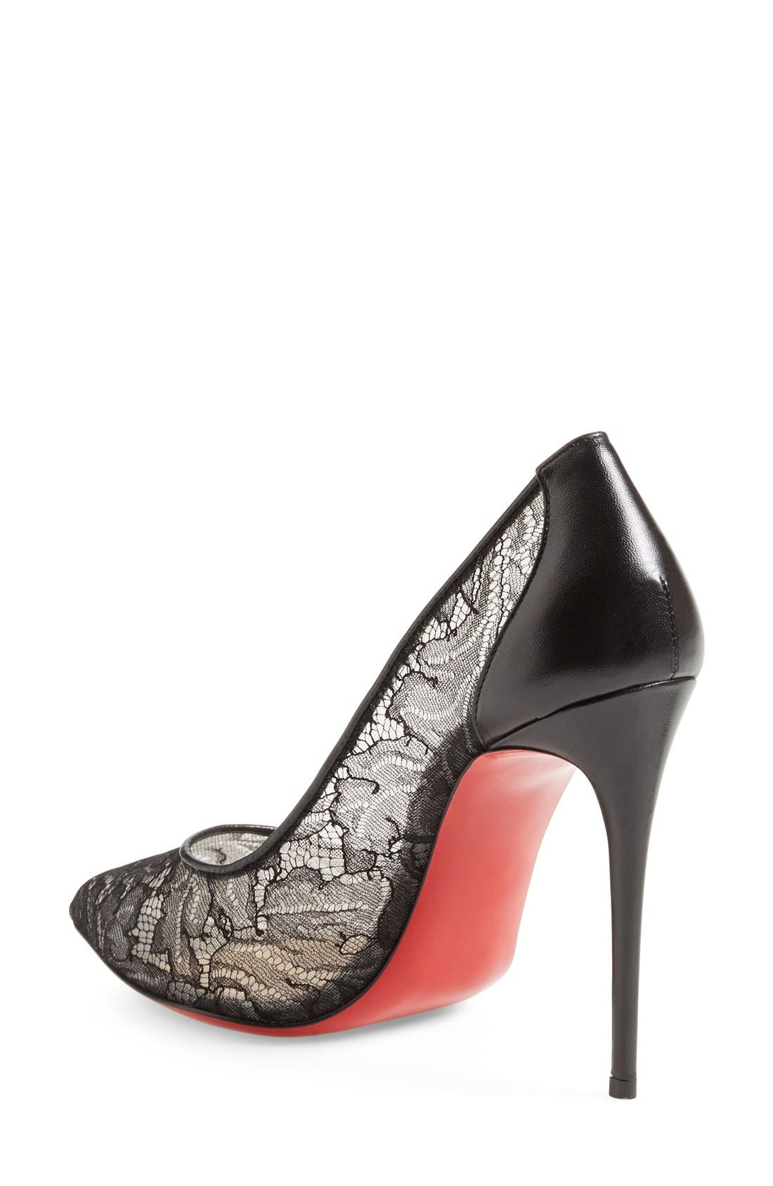 'Follies' Lace Pointy Toe Pump,                             Alternate thumbnail 4, color,                             001
