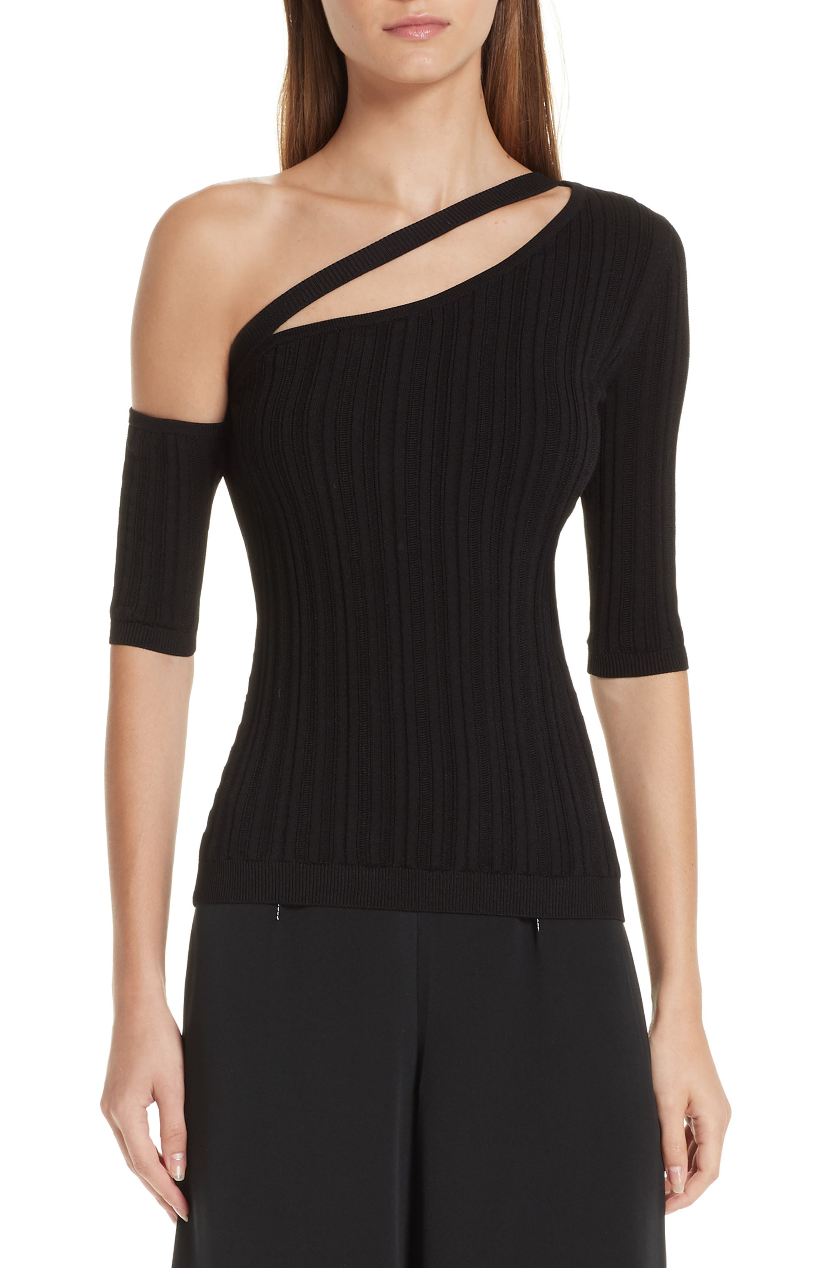 CUSHNIE Cutout One-Shoulder Top, Main, color, BLACK