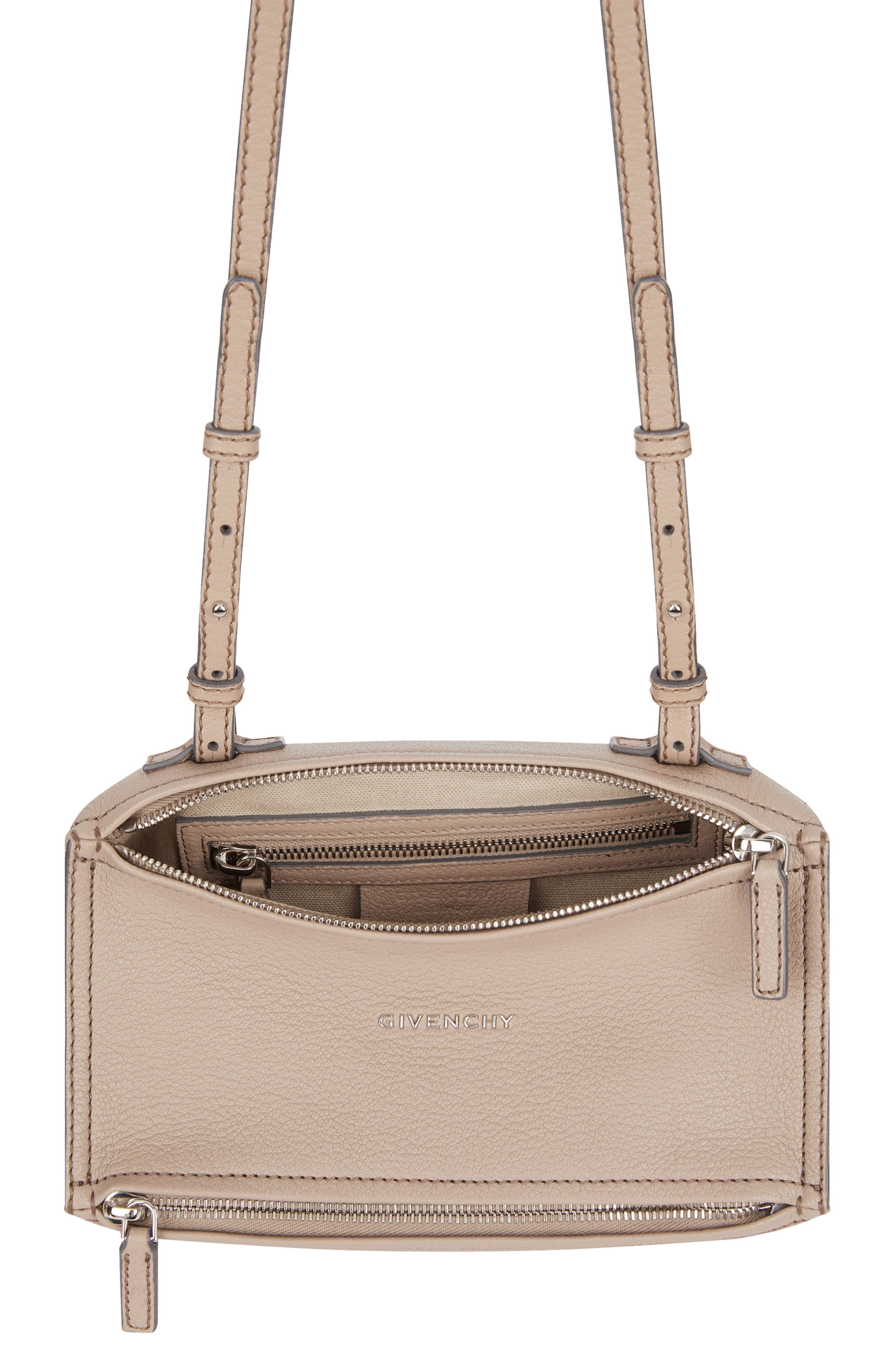'Mini Pandora' Sugar Leather Shoulder Bag,                             Alternate thumbnail 3, color,                             POWDER