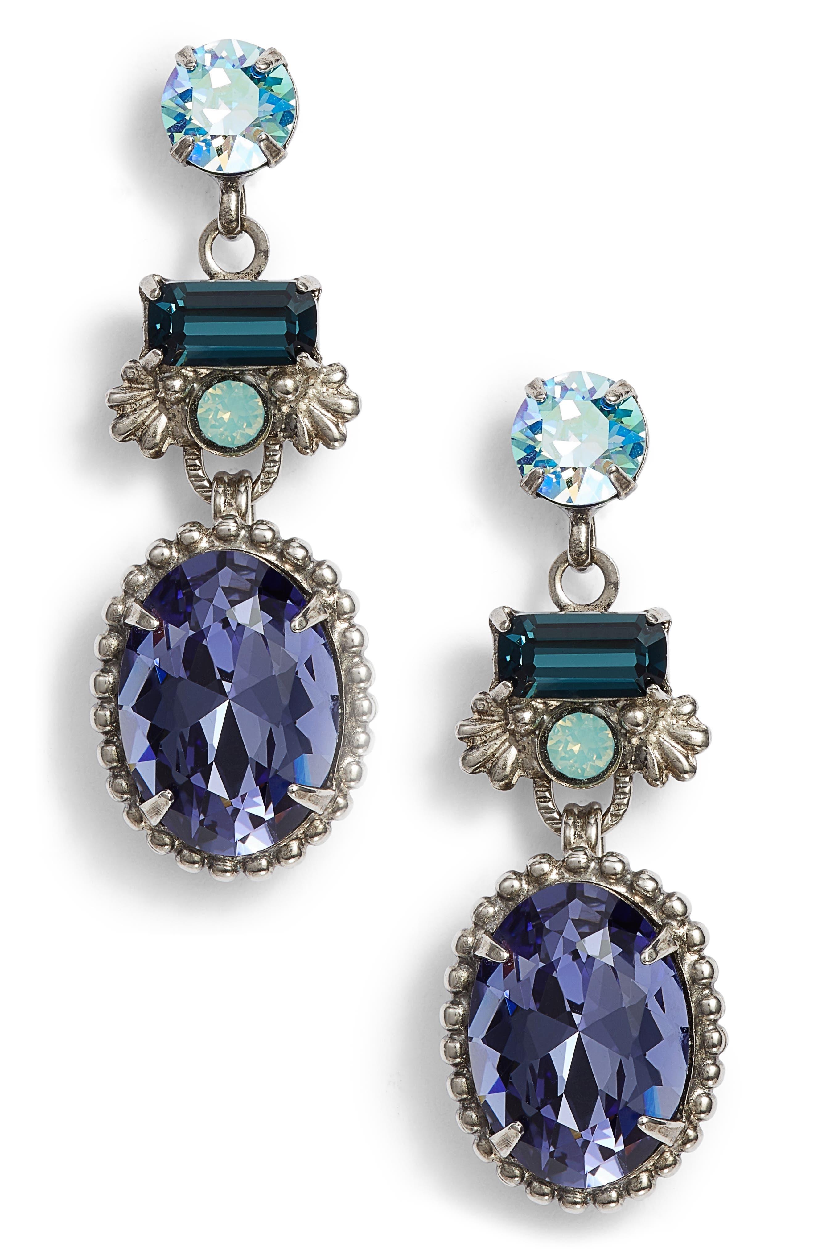 Bergenia Crystal Drop Earrings,                             Main thumbnail 1, color,                             PURPLE/ BLUE