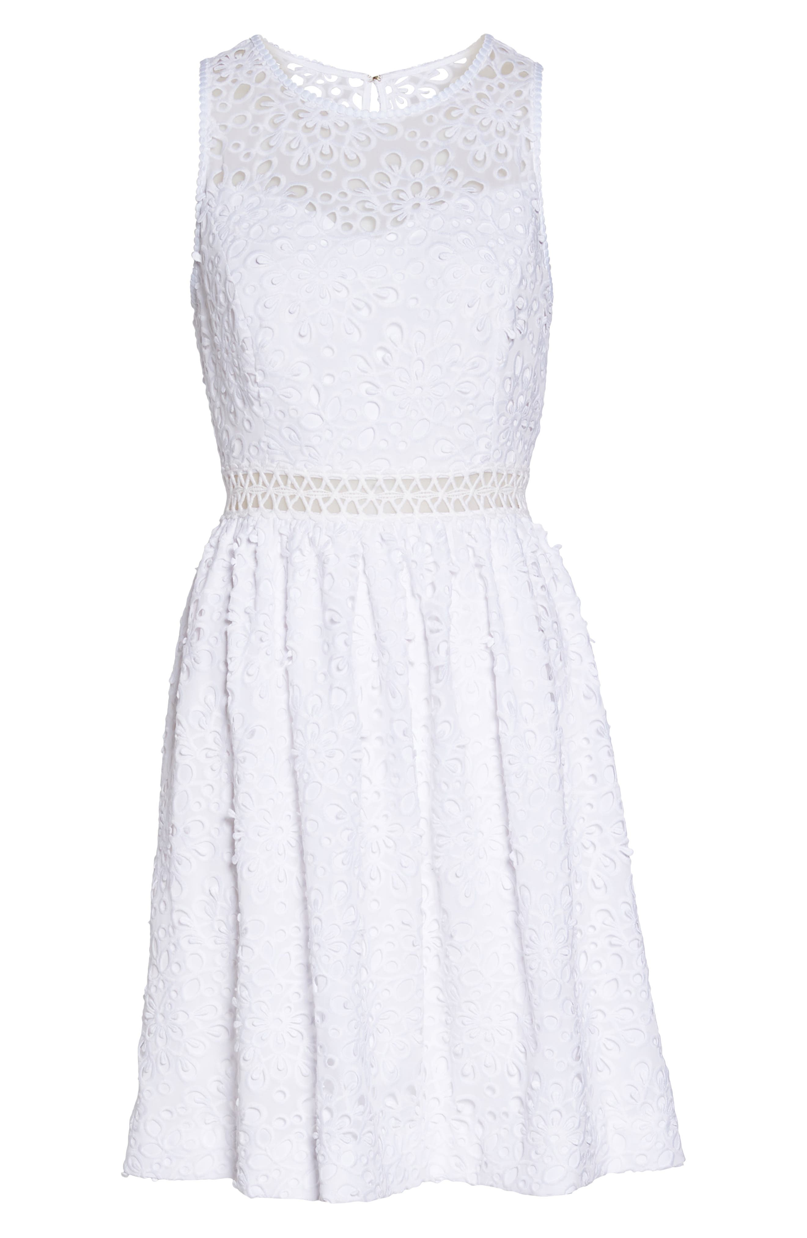 LILLY PULITZER<SUP>®</SUP>,                             Alivia Eyelet Fit & Flare Dress,                             Alternate thumbnail 6, color,                             115