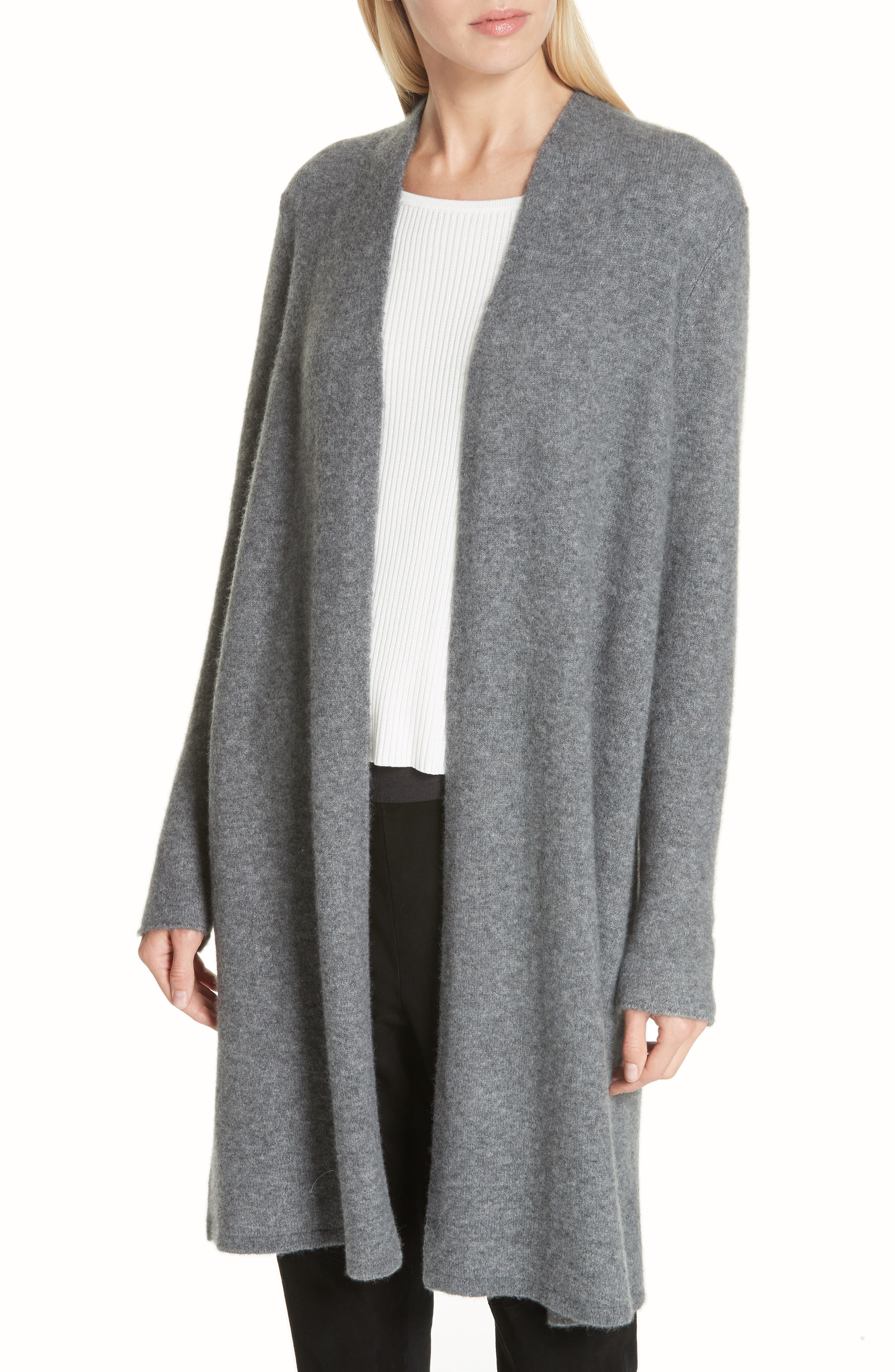 Cashmere & Silk Blend Open Cardigan,                             Main thumbnail 1, color,                             ASH
