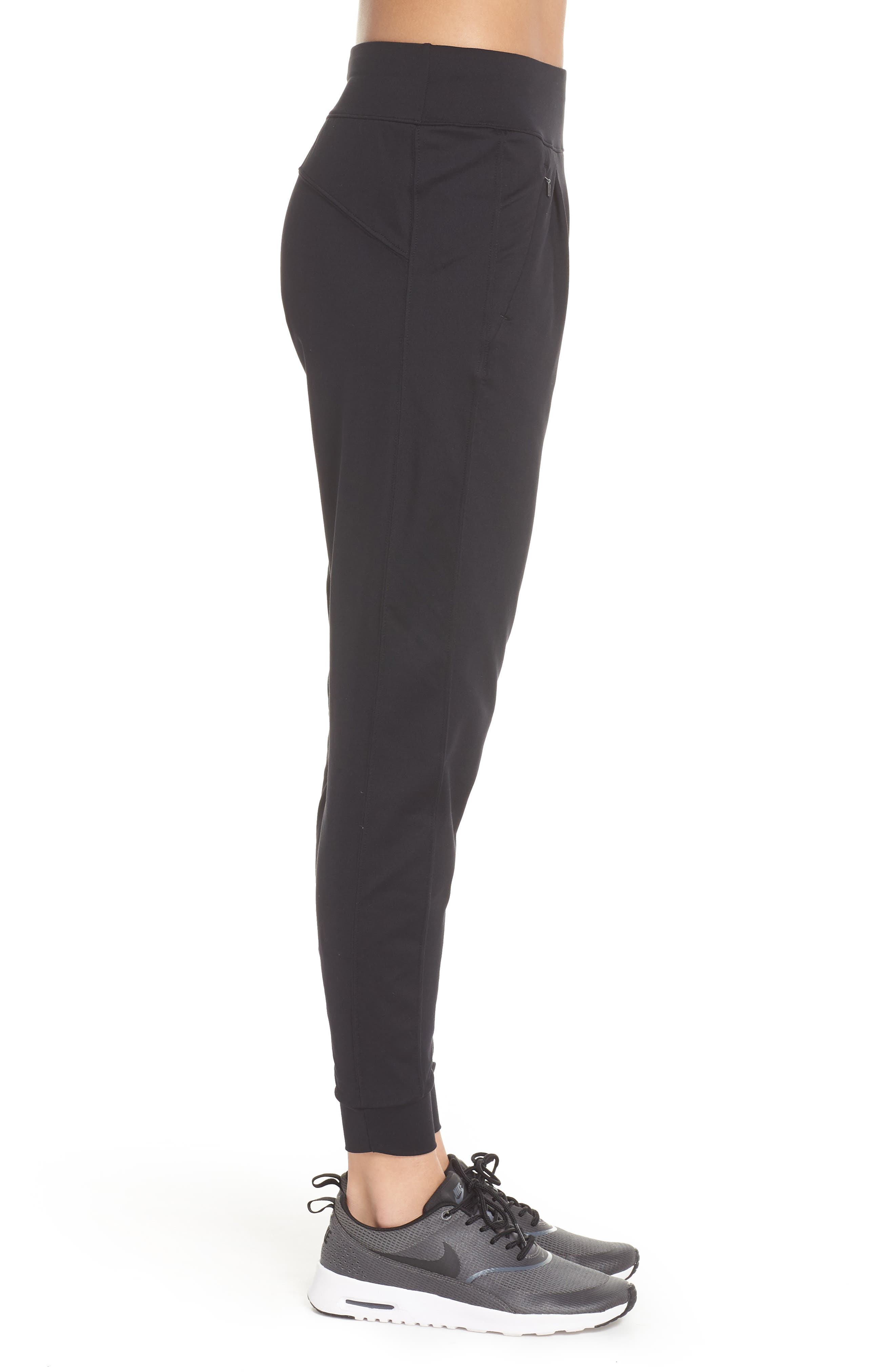 Taylor Slim Recycled Knit Jogger Pants,                             Alternate thumbnail 3, color,                             BLACK