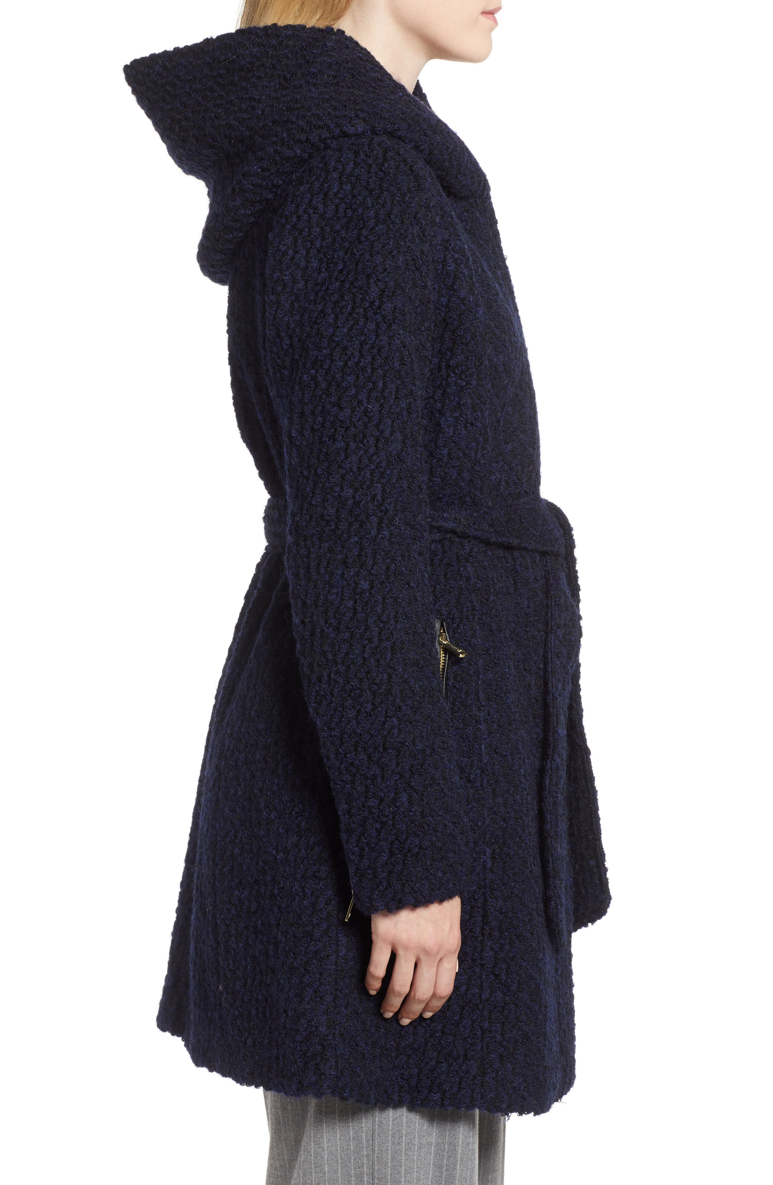 Belted Bouclé Wool Blend Coat,                             Alternate thumbnail 3, color,                             BLACK/ NAVY