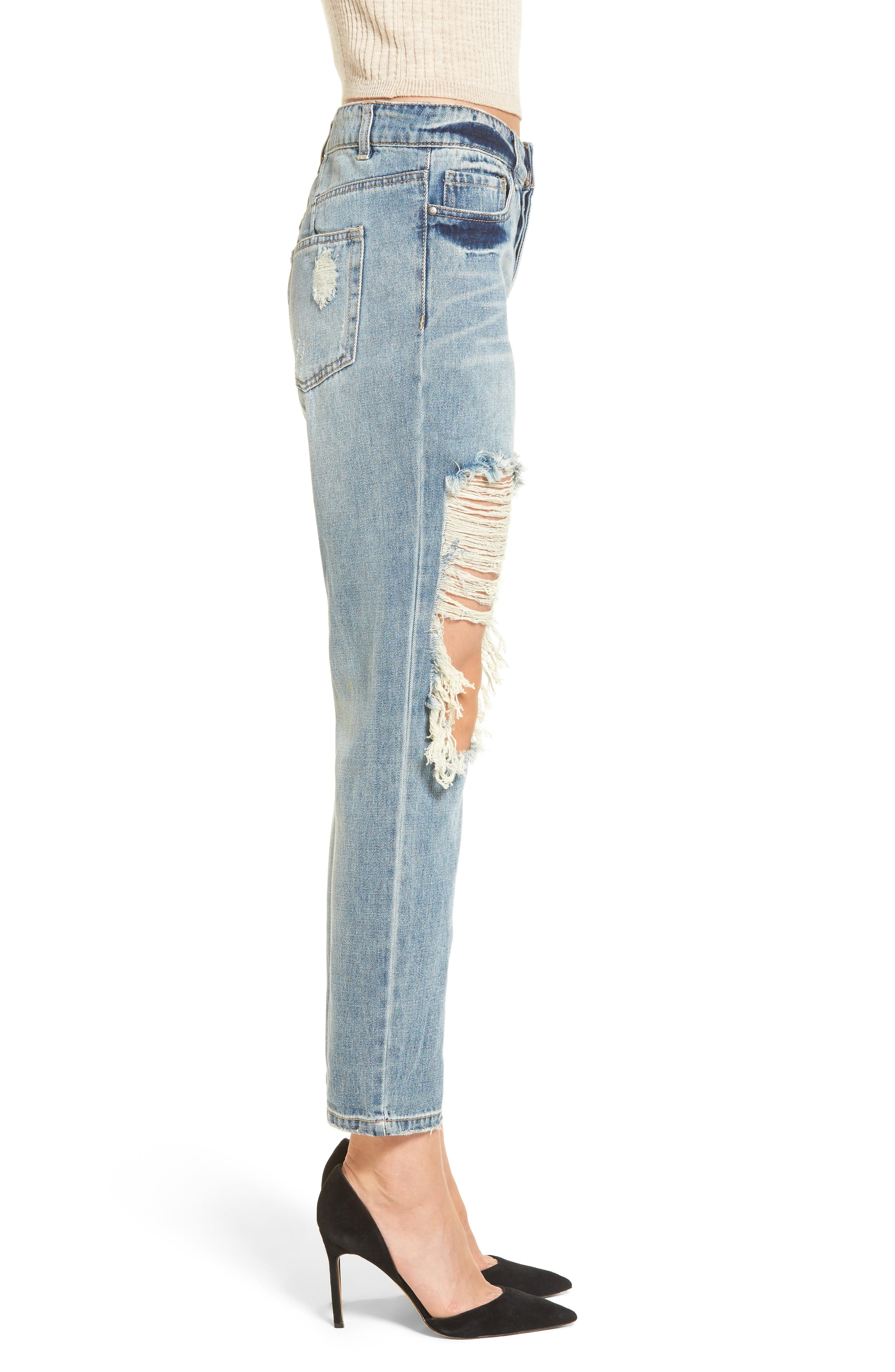 Cyrus High Waist Ankle Jeans,                             Alternate thumbnail 3, color,                             SINNER WASH
