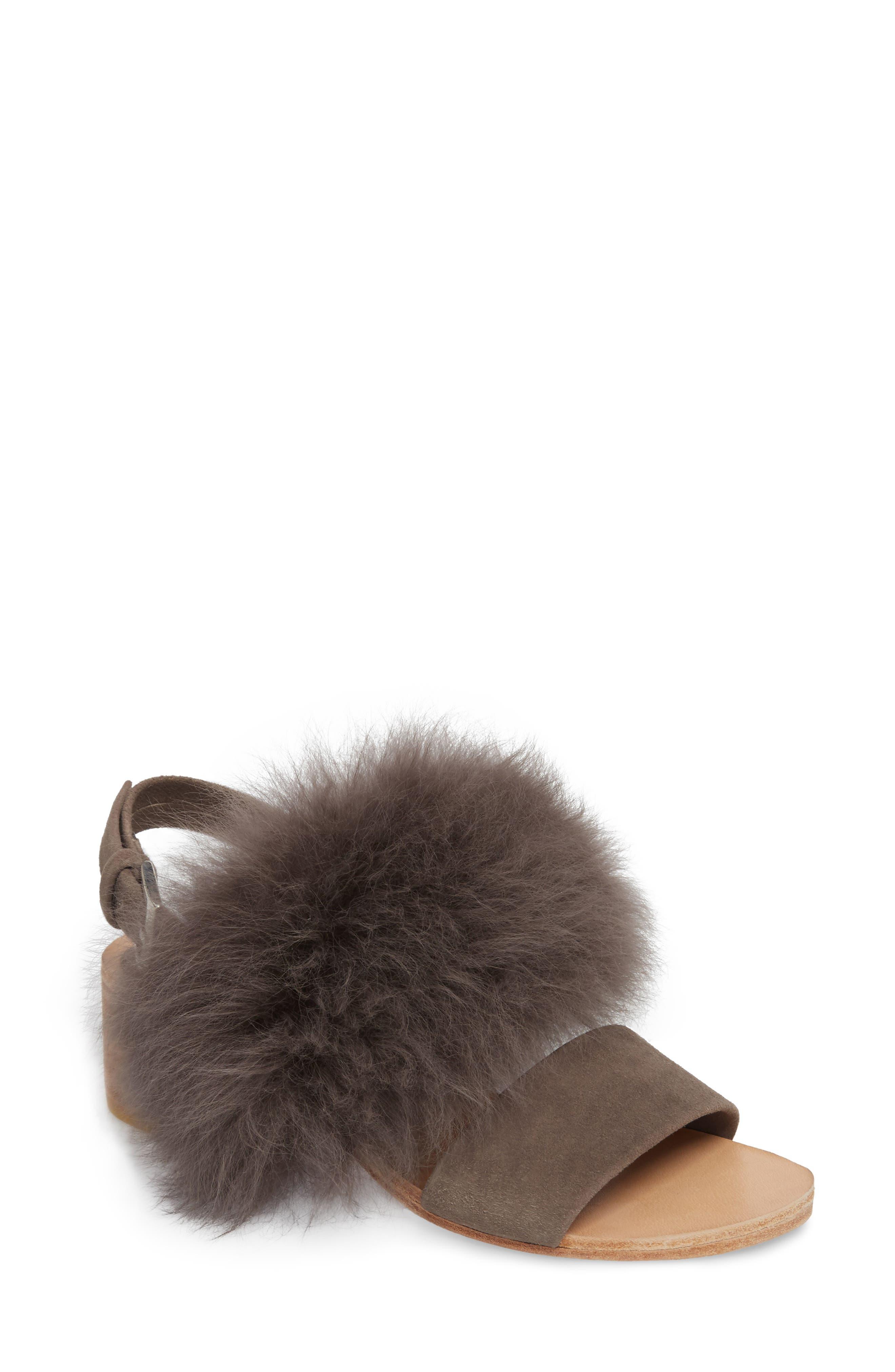 Huma Blanco Clemence Genuine Alpaca Fur Sandal