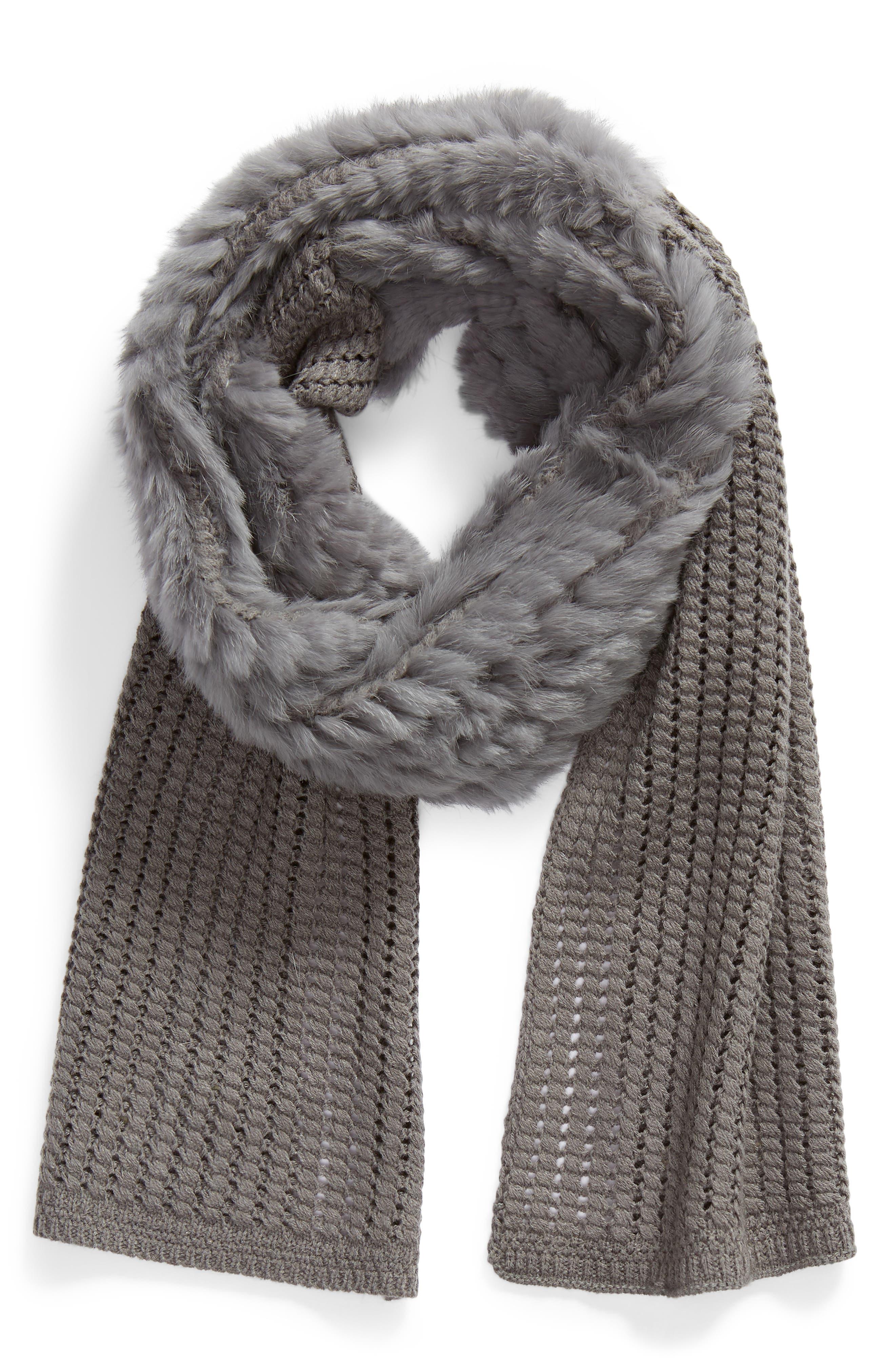 Genuine Rabbit Fur & Acrylic Knit Scarf,                             Alternate thumbnail 2, color,                             GREY