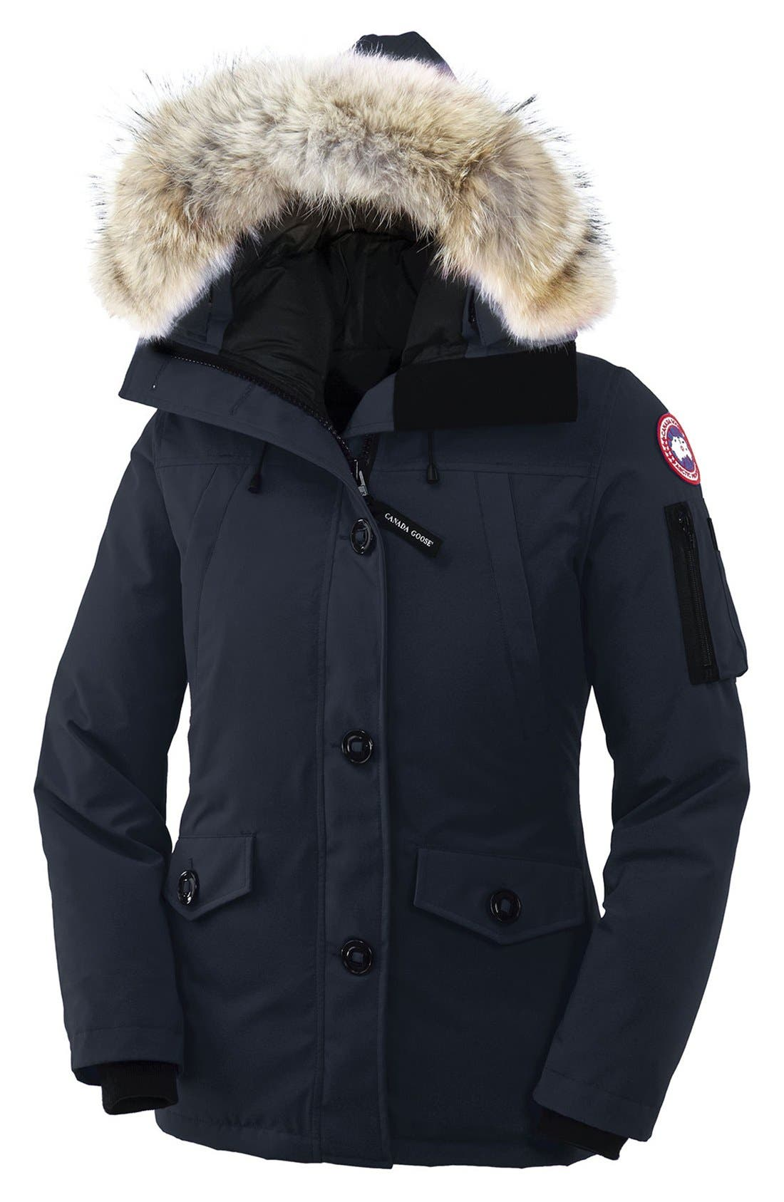 Montebello Slim Fit Down Parka with Genuine Coyote Fur Trim,                             Main thumbnail 1, color,                             NAVY