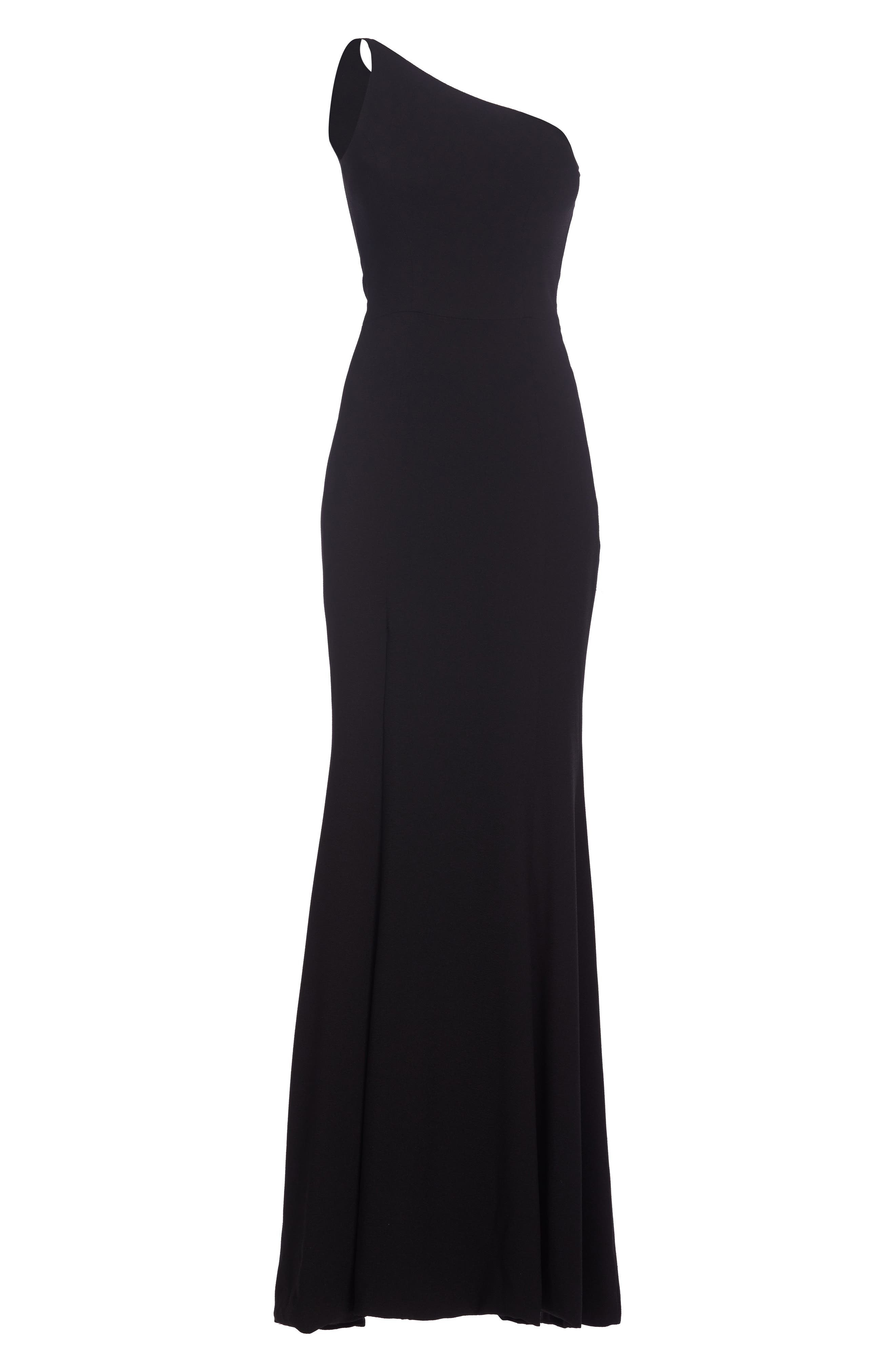 DRESS THE POPULATION,                             Amy One-Shoulder Crepe Gown,                             Alternate thumbnail 4, color,                             001