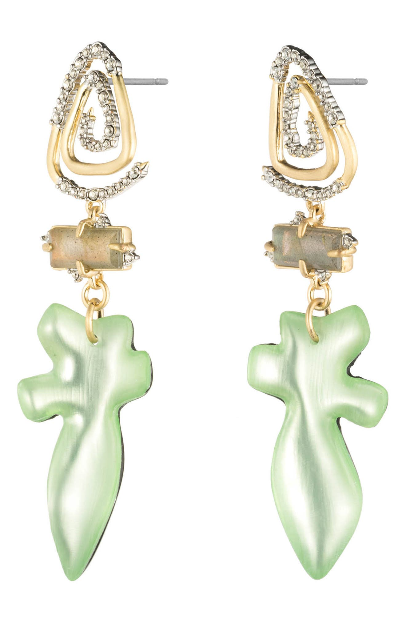 Crystal Encrusted Spiral Post Earrings,                             Alternate thumbnail 2, color,                             SEAFOAM