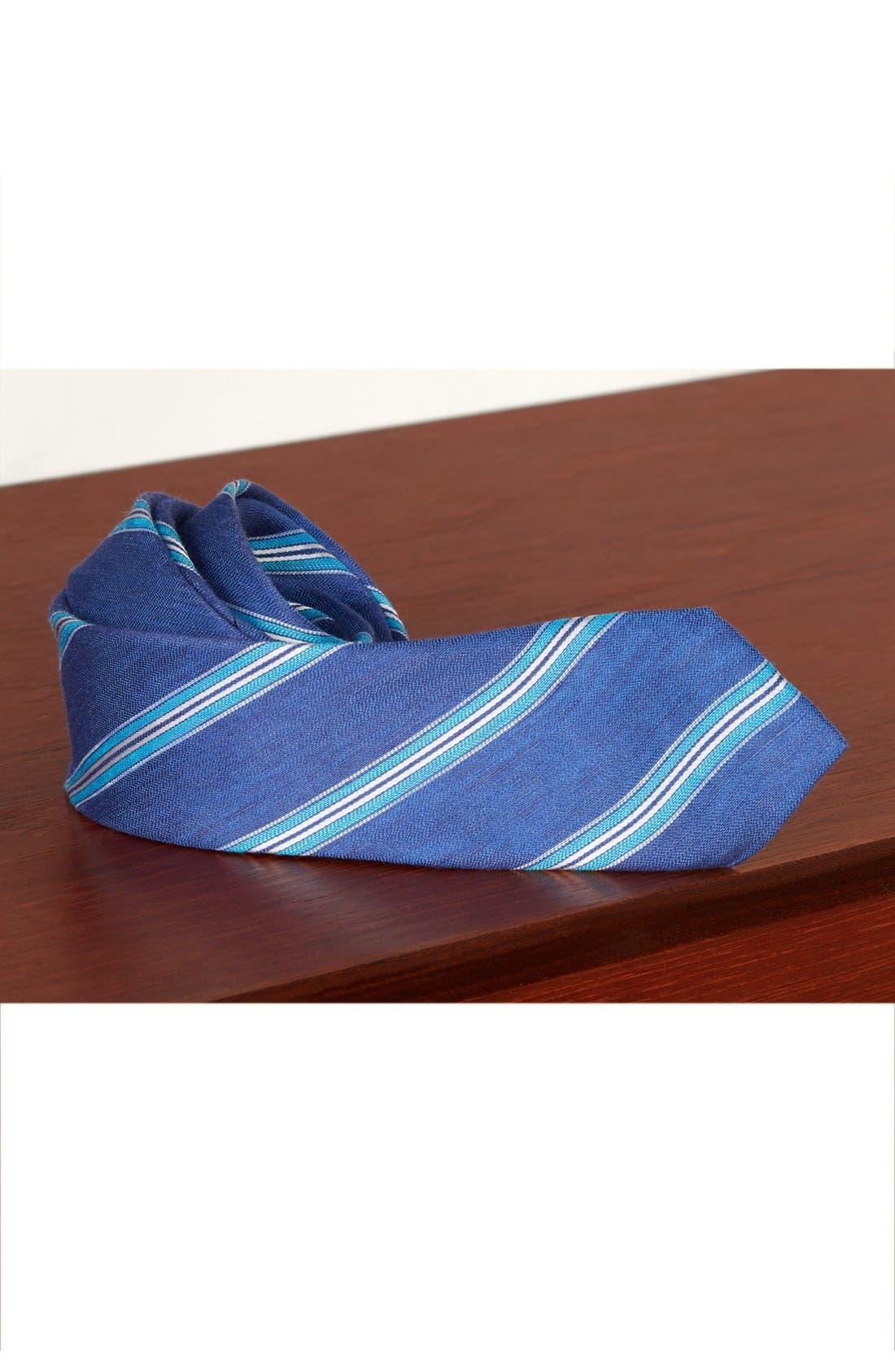 Stripe Linen & Silk Tie,                             Alternate thumbnail 4, color,                             435