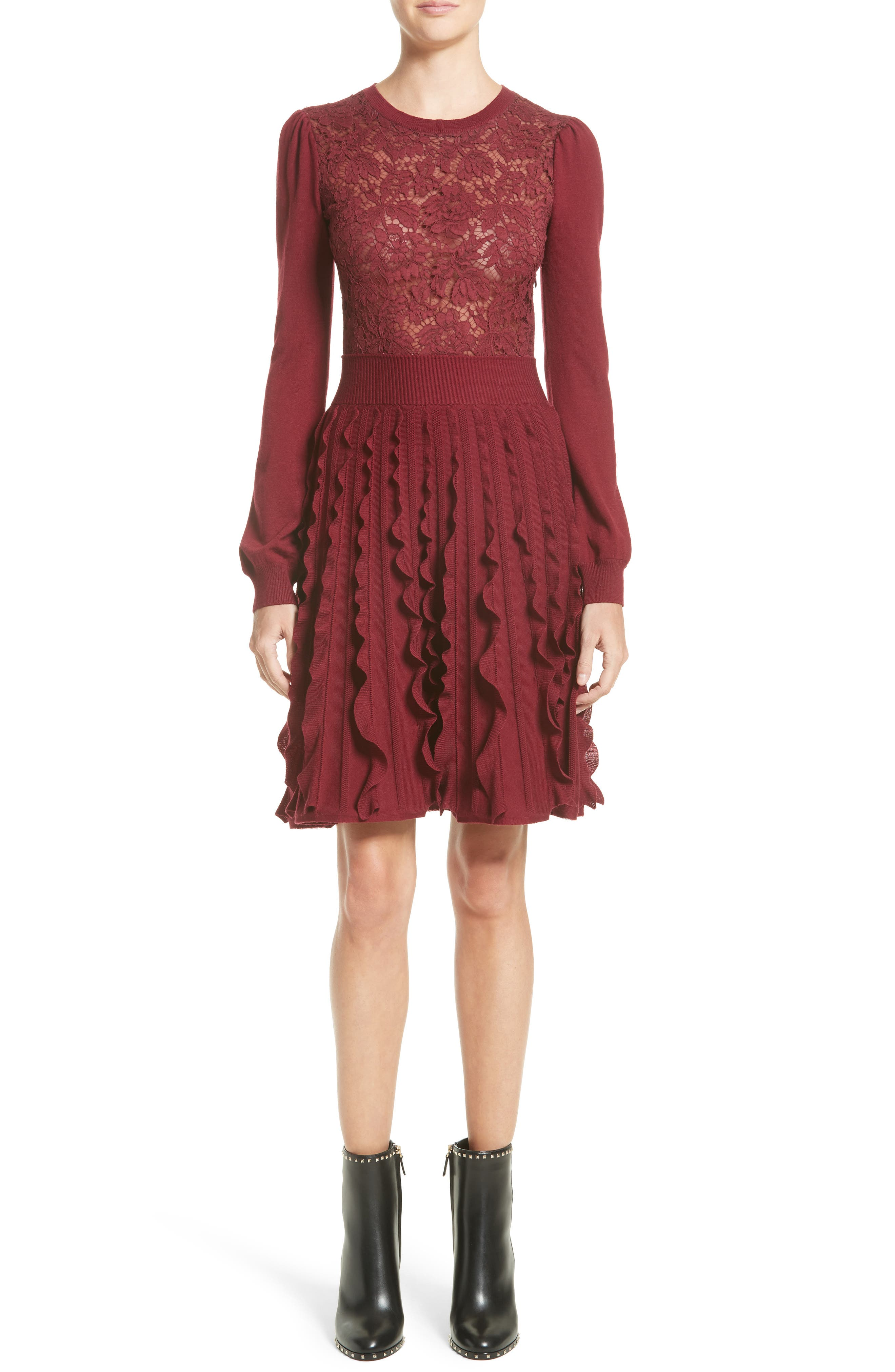 Guipure Lace & Wool Knit Dress,                             Alternate thumbnail 5, color,                             930