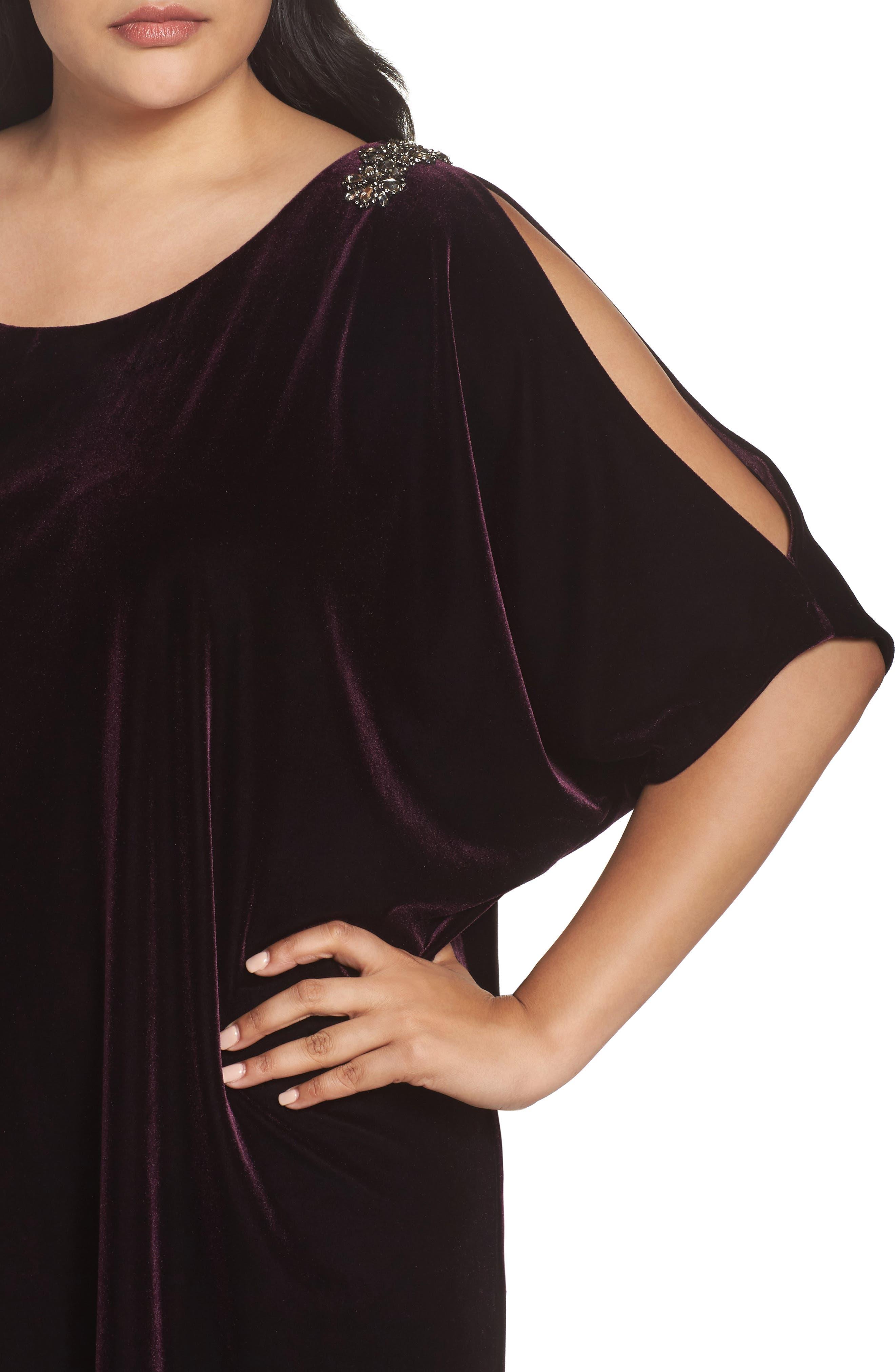 Embellished Velvet Shift Dress,                             Alternate thumbnail 4, color,
