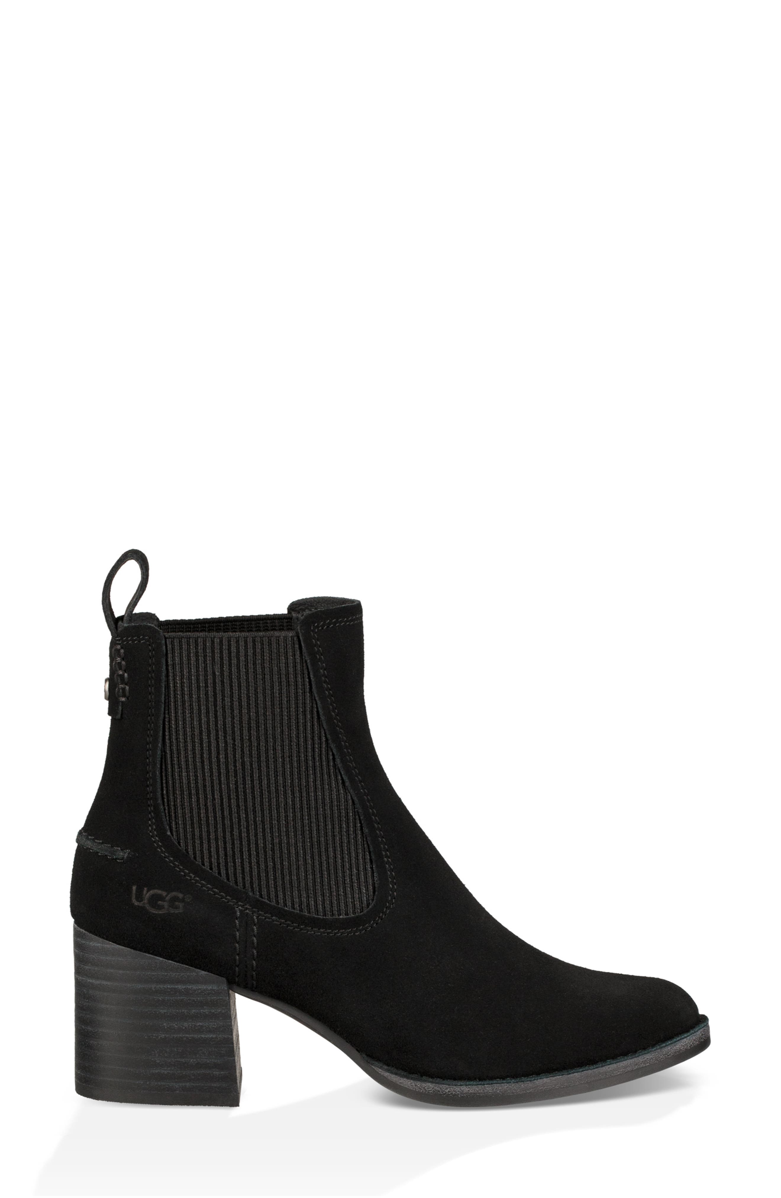 Faye Chelsea Bootie,                             Alternate thumbnail 3, color,                             BLACK SUEDE