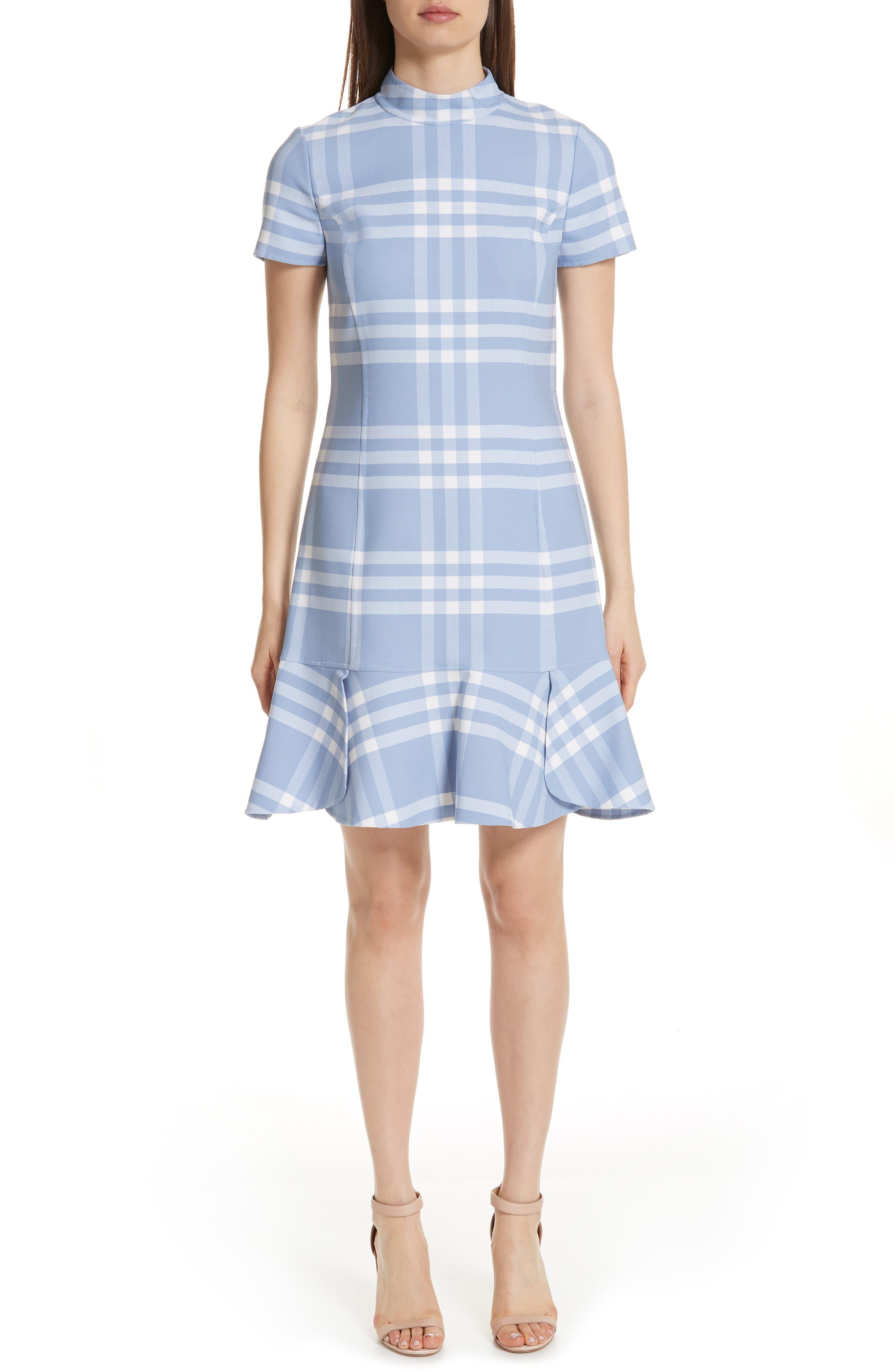 Oscar De La Renta Checkered Ruffle Hem Stretch Wool Dress, Blue