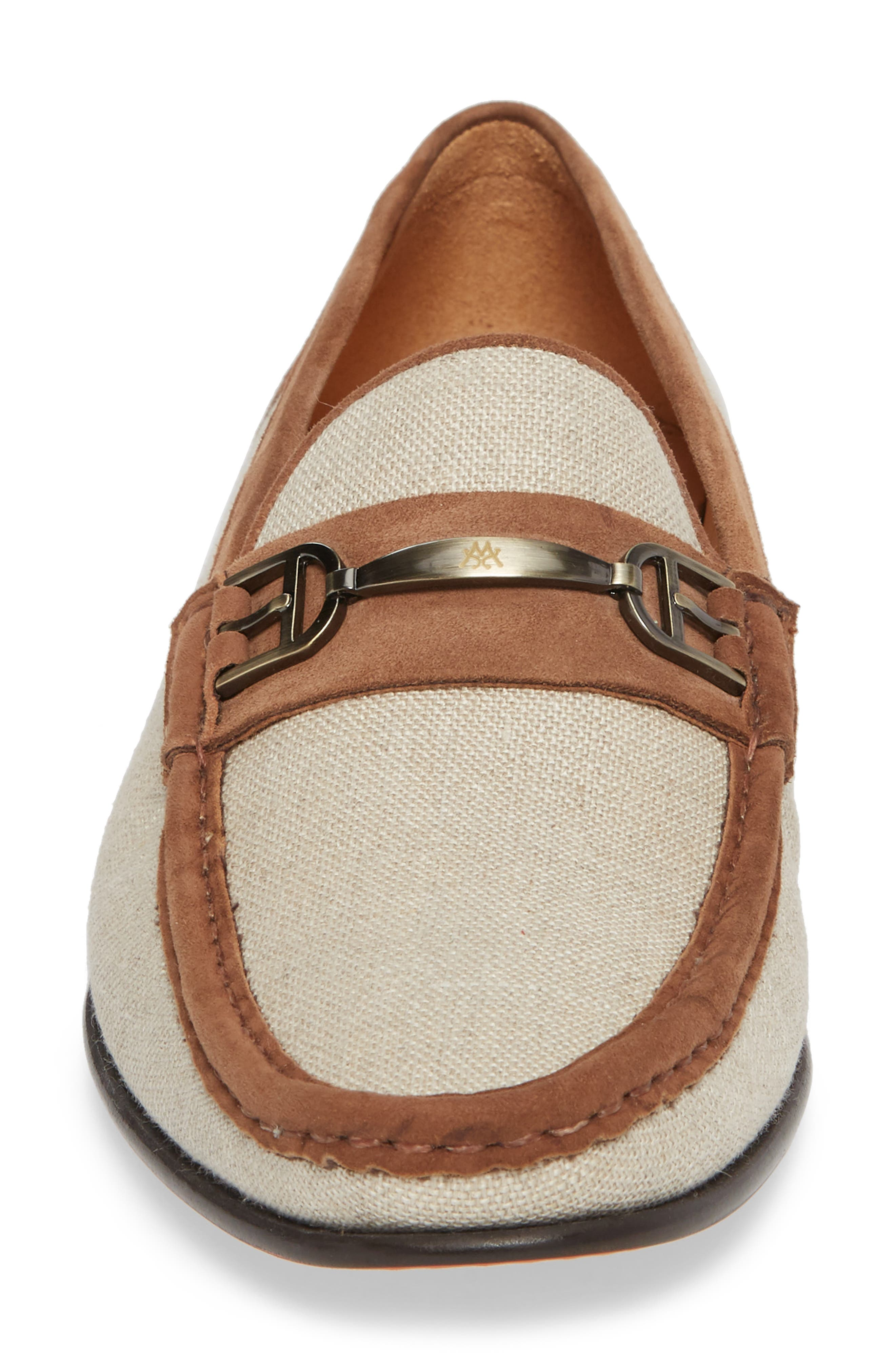 Jason Two-Tone Bit Loafer,                             Alternate thumbnail 4, color,                             BONE/ COGNAC LINEN/ SUEDE