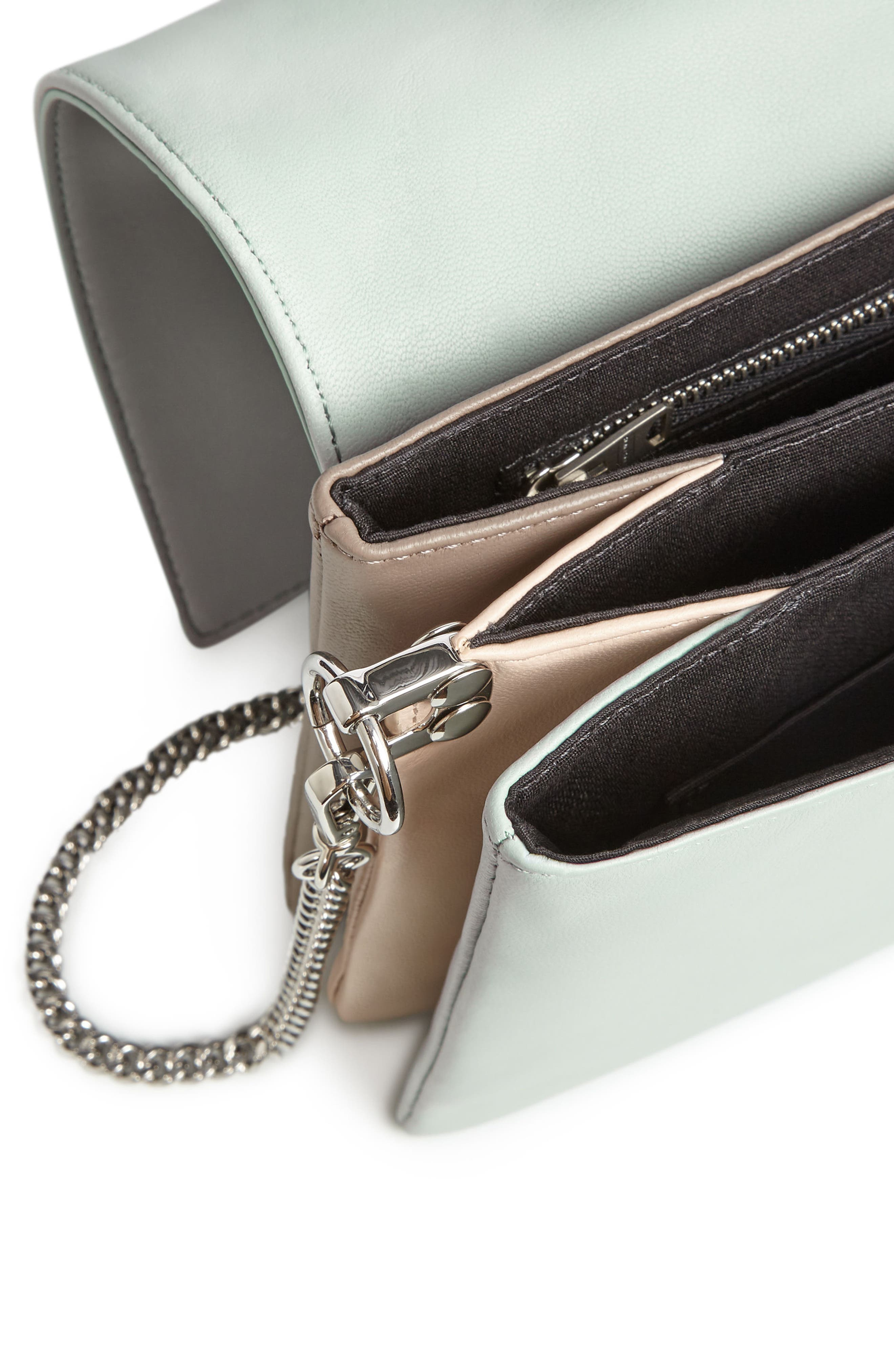 Zep Colorblock Leather Shoulder Bag,                             Alternate thumbnail 3, color,                             MINT GREEN