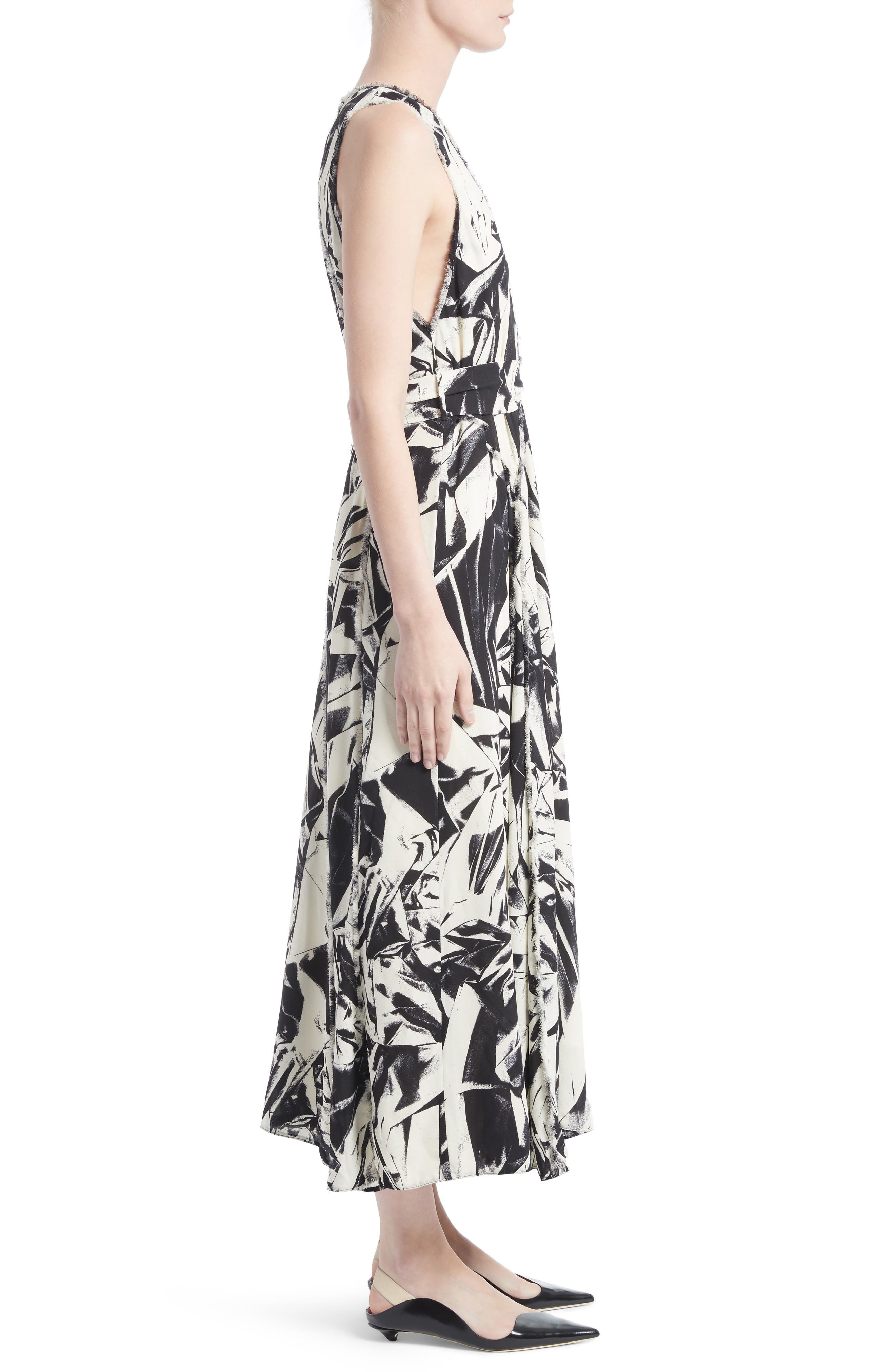 Print Silk Georgette Maxi Dress,                             Alternate thumbnail 3, color,                             001