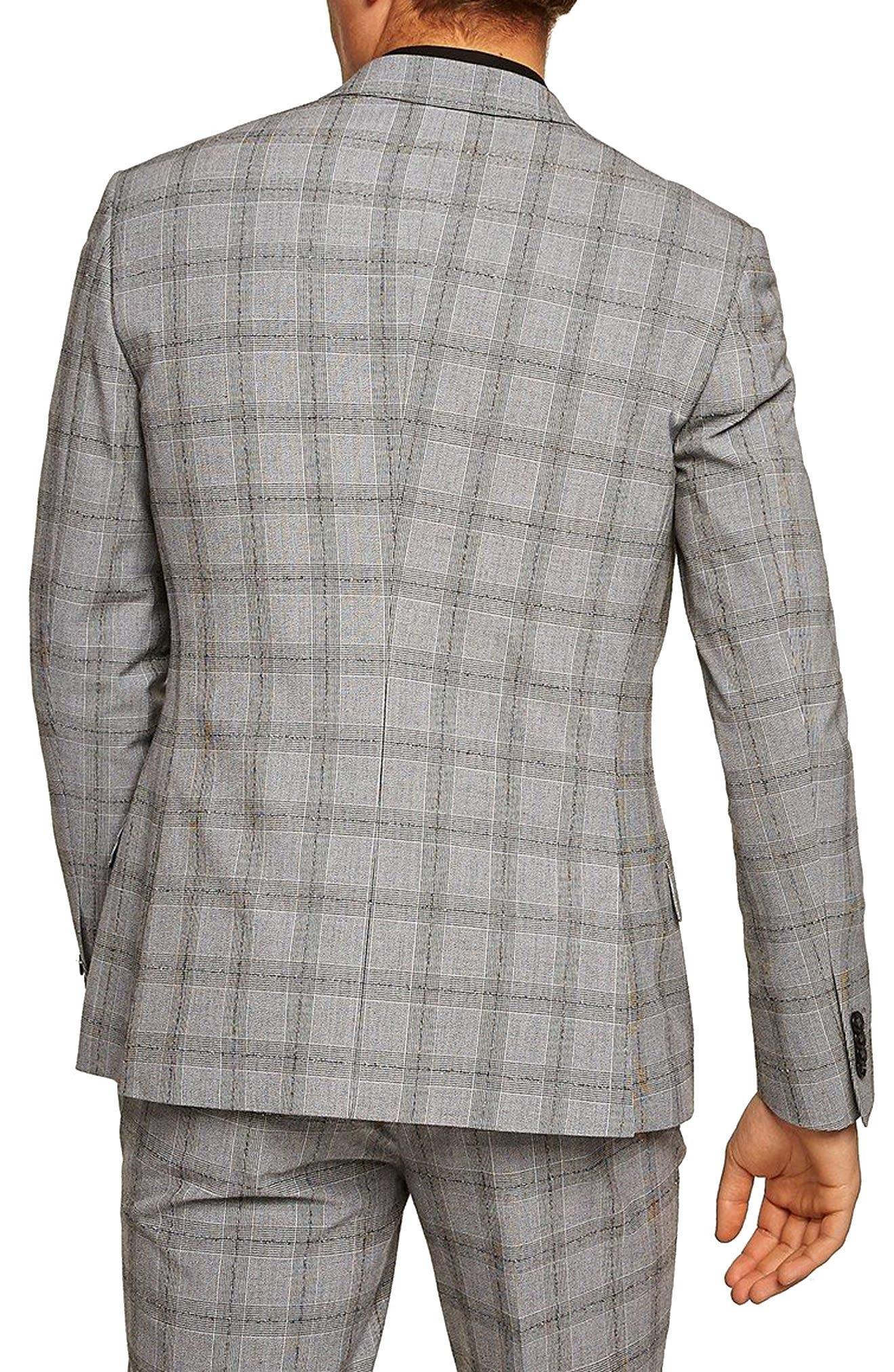 Check Suit Jacket,                             Alternate thumbnail 2, color,                             Grey/ Black