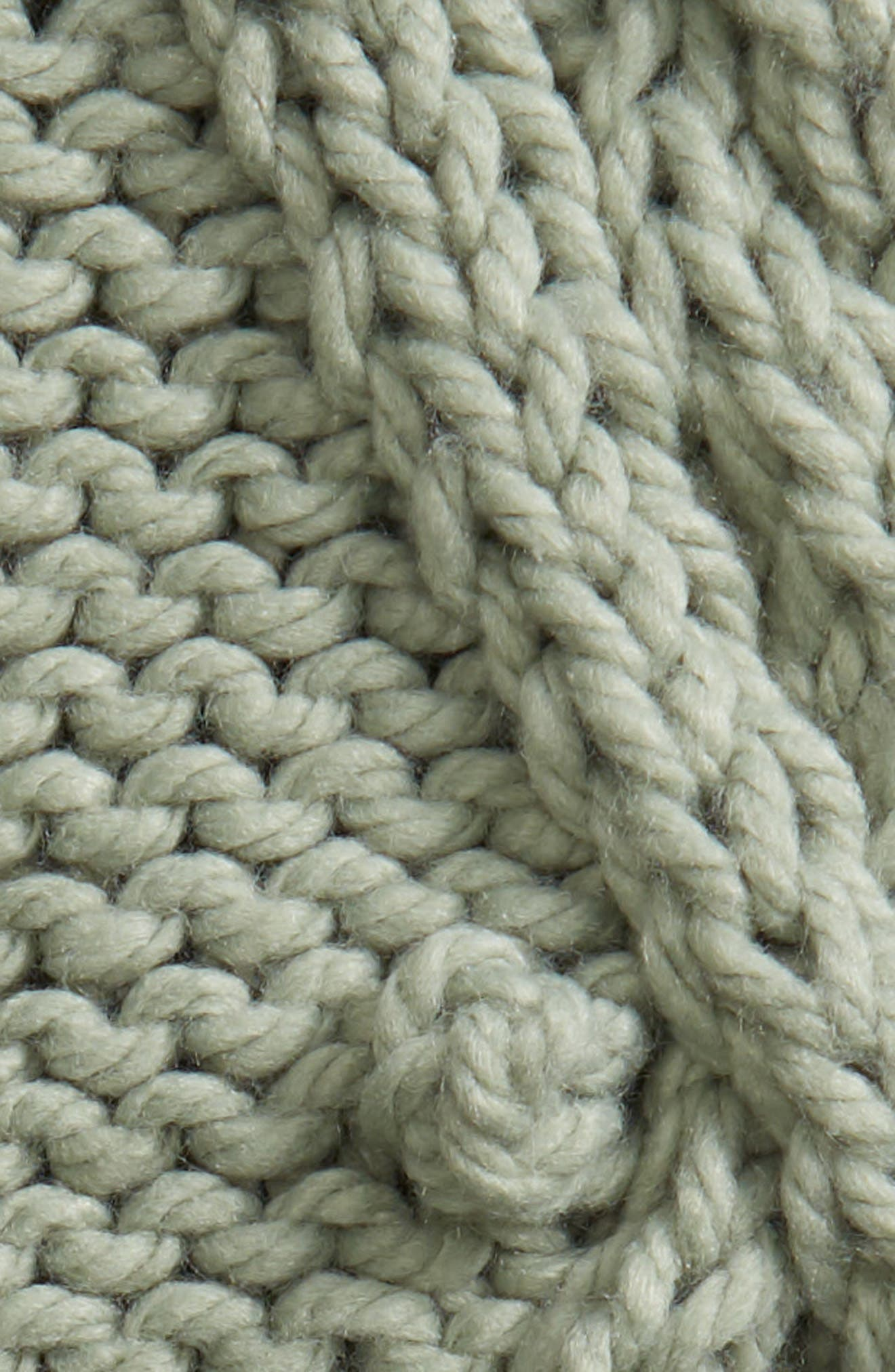 Chunky Cable Knit Throw Blanket,                             Alternate thumbnail 2, color,                             GREEN ICEBERG