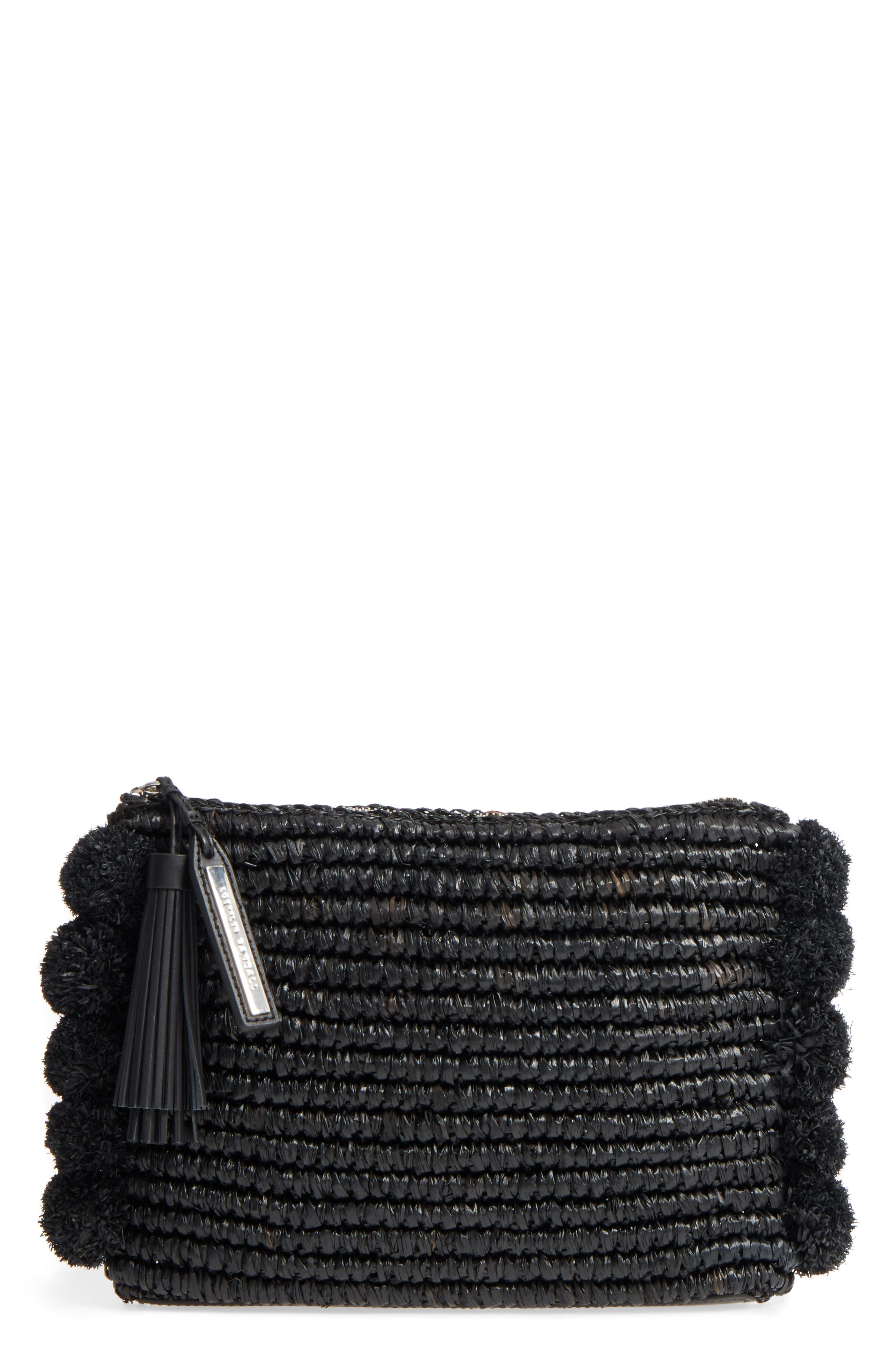 Straw Tassel Pouch,                             Main thumbnail 1, color,                             001