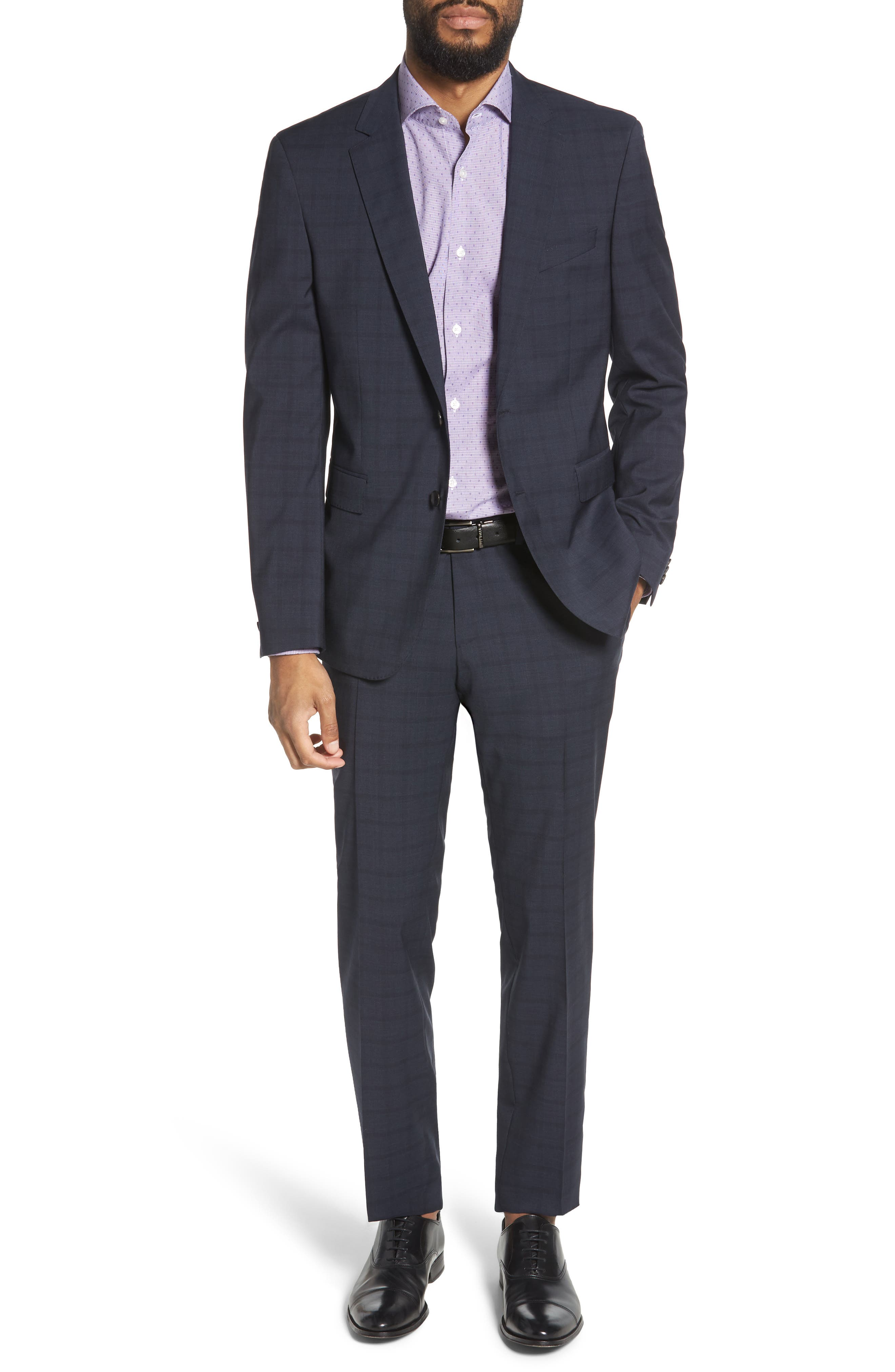 Ryan/Win Extra Trim Fit Windowpane Wool Suit,                         Main,                         color, BLUE