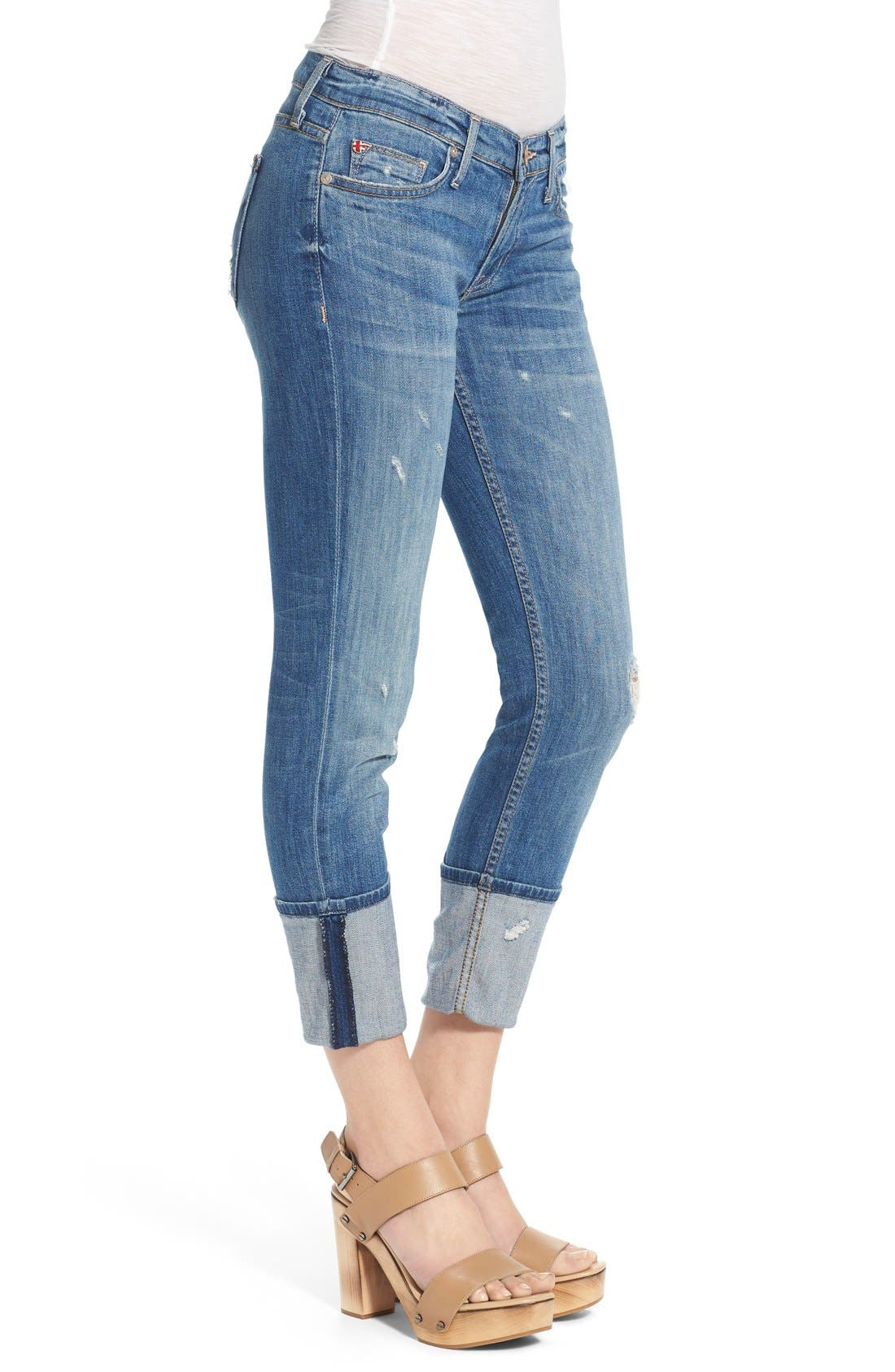 'Muse' Cuff Crop Jeans,                             Alternate thumbnail 2, color,                             INDIE